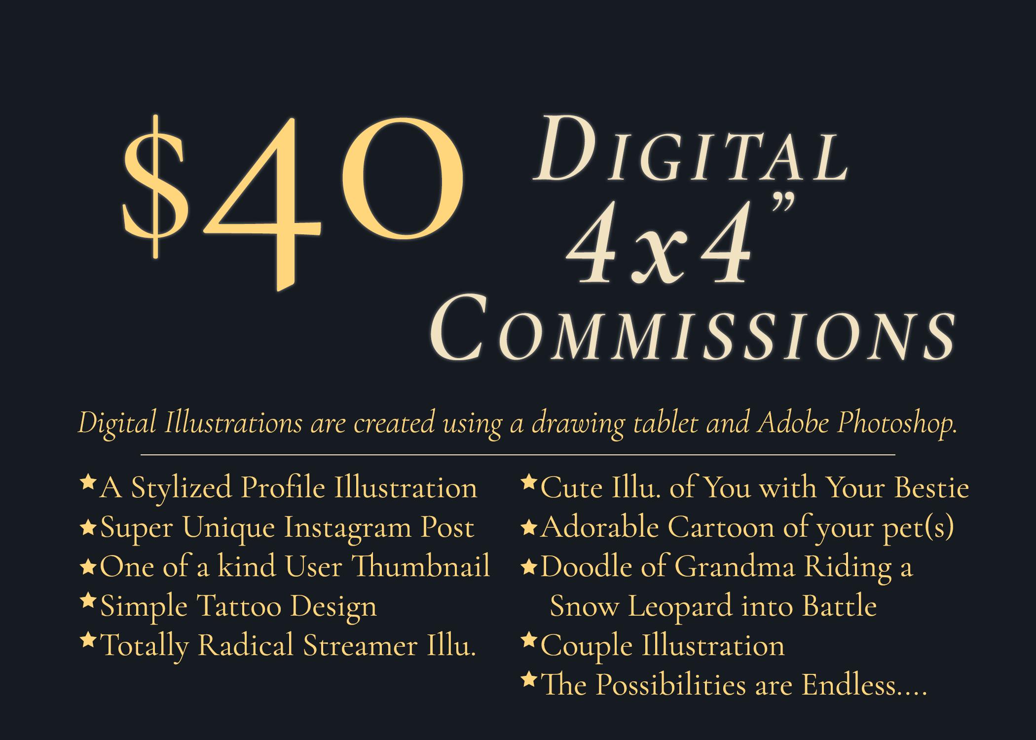 4x4inch Digital Illustration Pricing