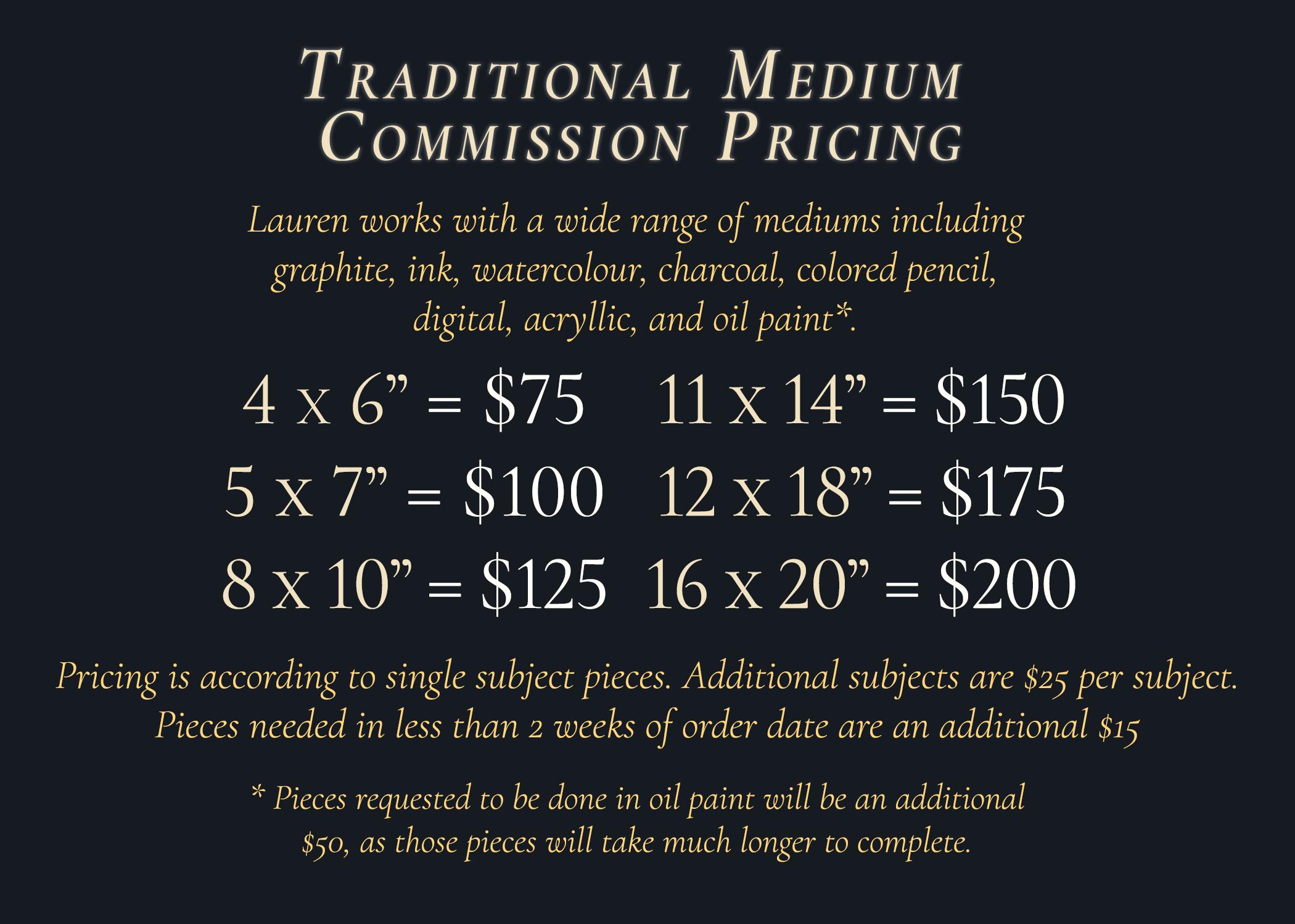 Traditional Medium Pricing
