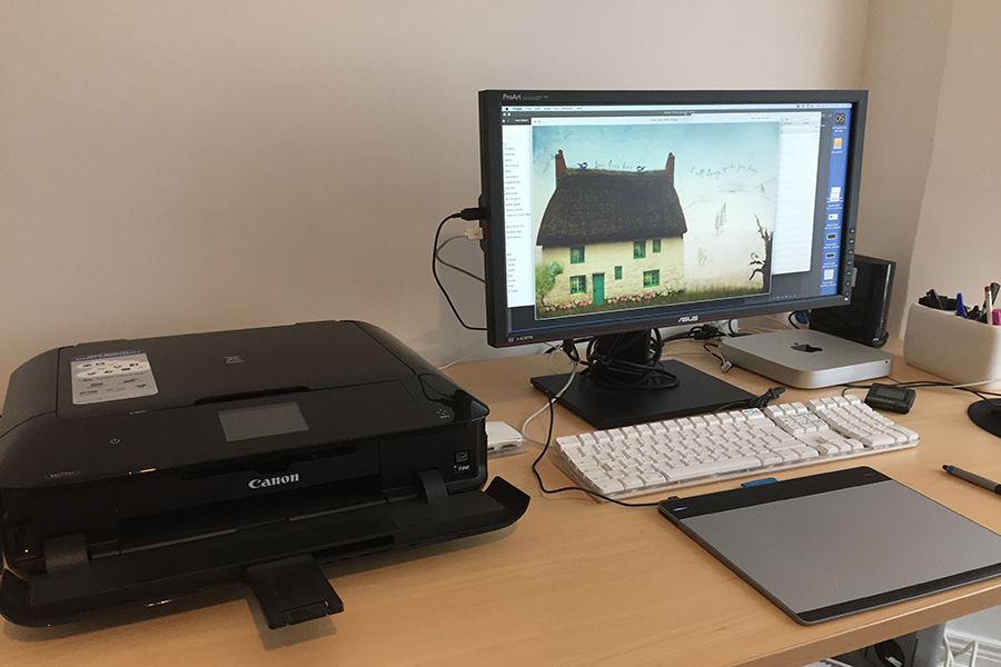 My computer, printer, and drawing tablet.