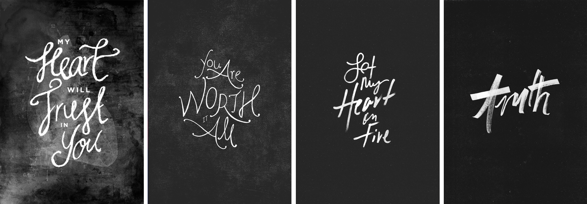 A look at my personal hand lettering journey, from my very first (left) to my final piece after my project was complete (right)