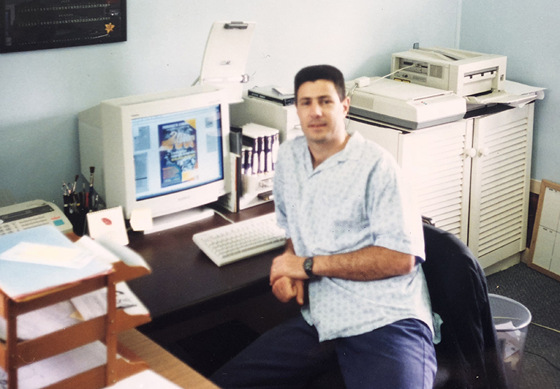 Chris in his design studio - early to mid 90s.