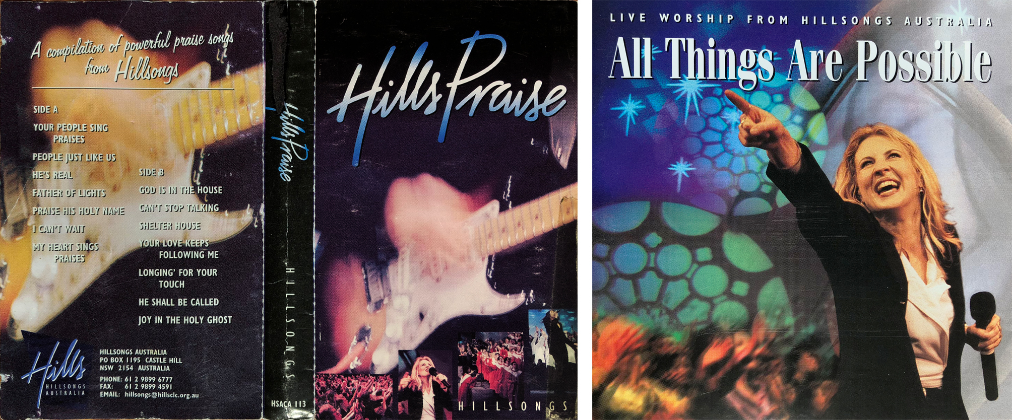 """Hills Praise"" cassette album artwork and ""All Things Are Possible"" CD album artwork (1997)"