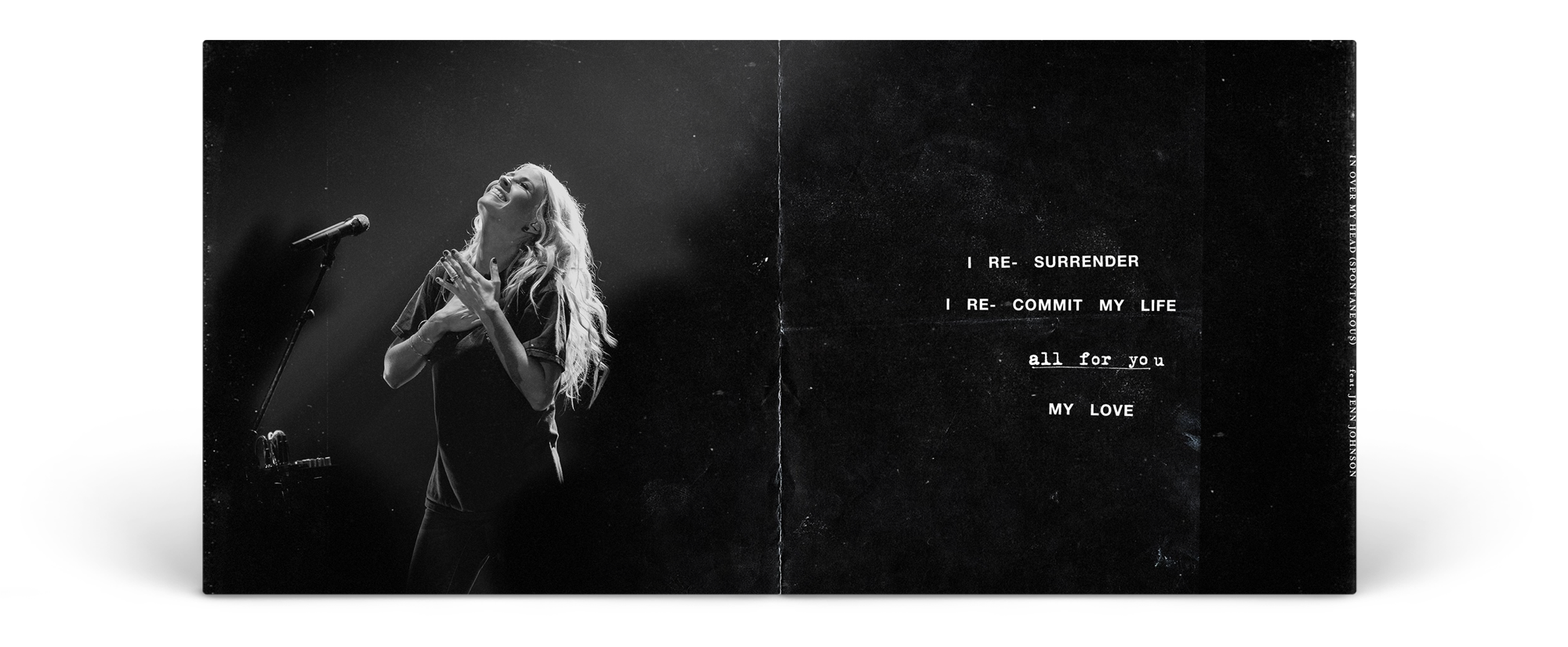 """A sample of the album's booklet. I created each spread to align with each """"moment"""", using a quote from a poignant lyric, paired with a photo that sums up that quote."""