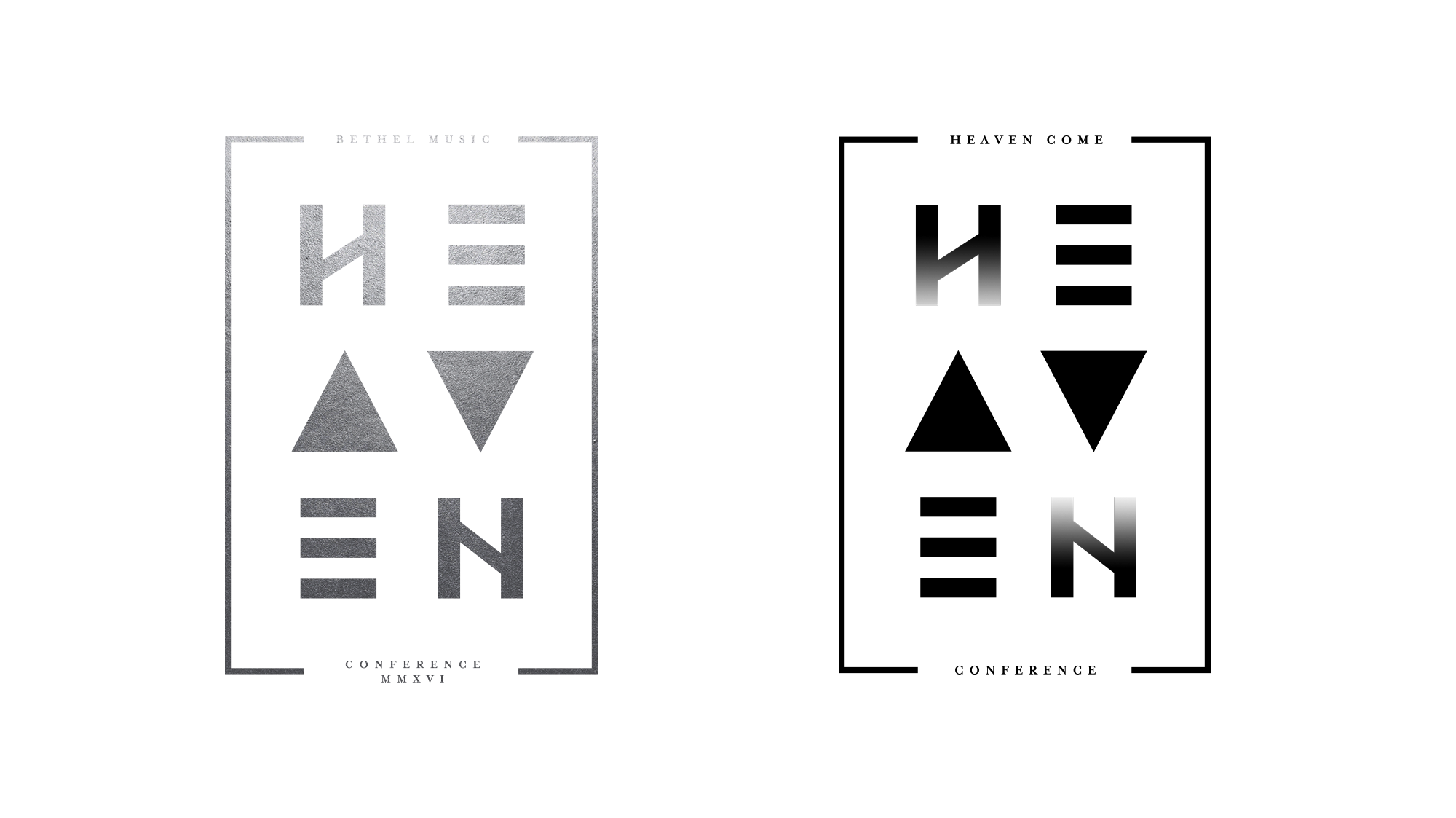 """Logo development for """"Heaven Come Conference"""". LEFT - Original logo designed in NZ, RIGHT - slightly tweaked with gradient letters."""