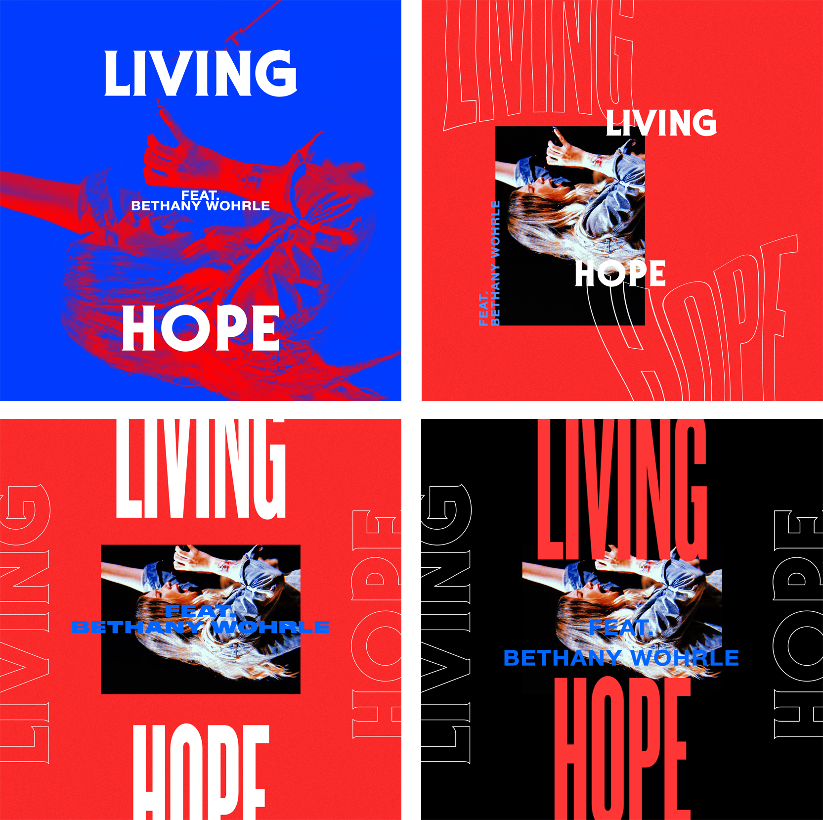 "Four concepts from the initial and revised concepts for ""Living Hope"""