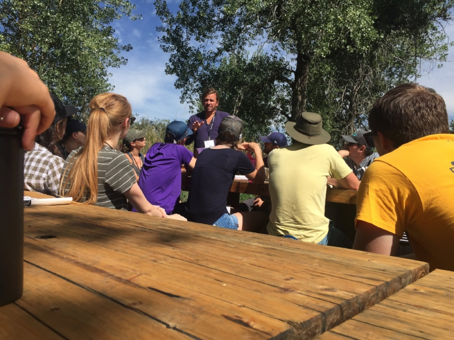 Phil leading a group of  MENV  students at Black Cat Farms.