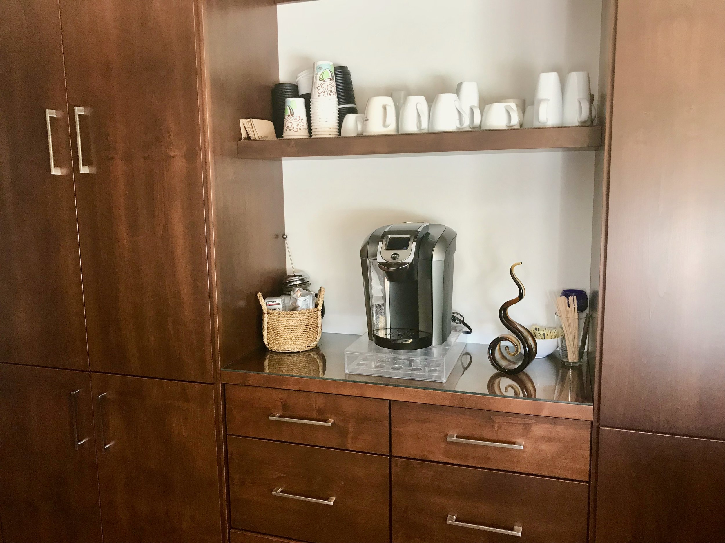 Coffee bar with Keurig brewer - piping hot coffee all at the touch of a button!