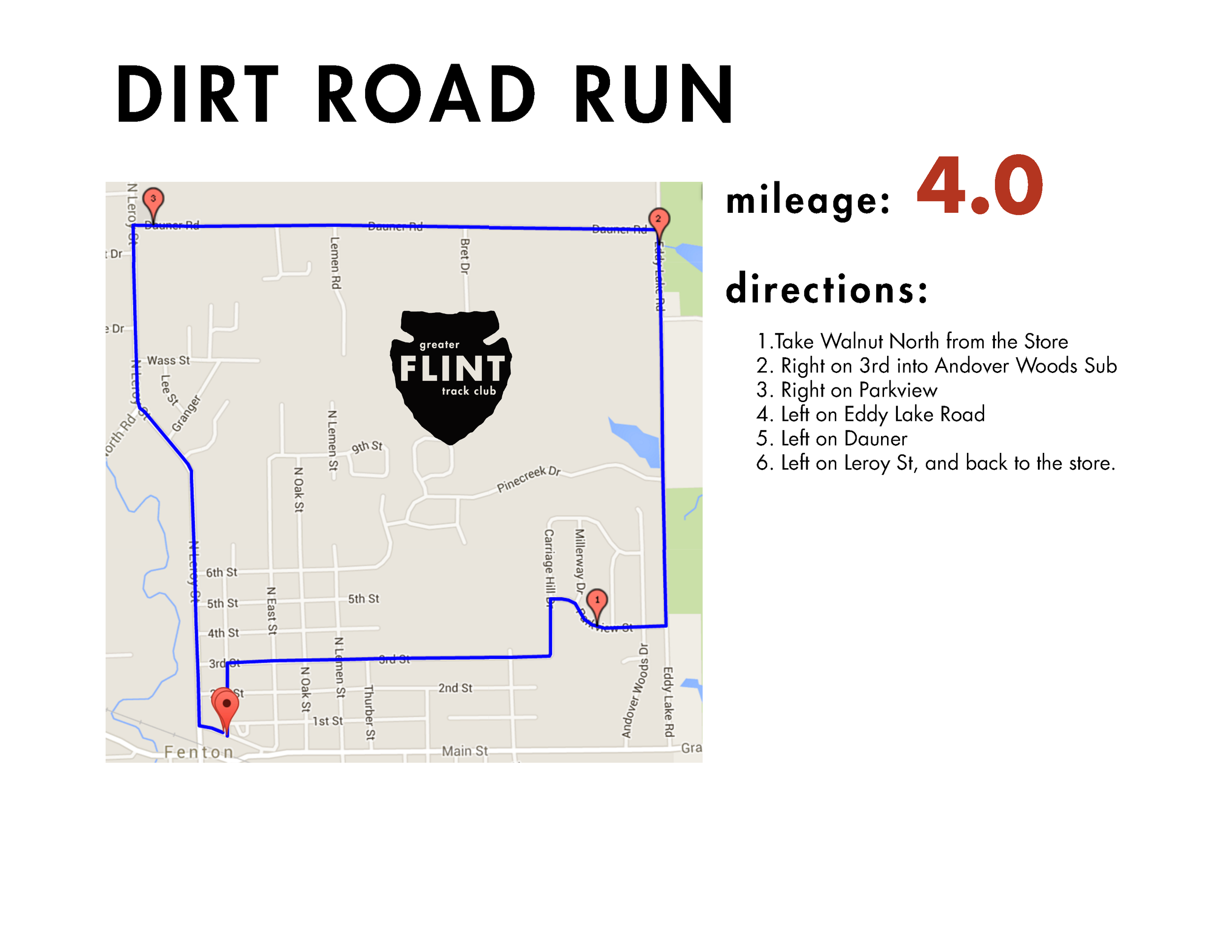 a classic 4 miler route. has a little of everything - pavement, dirt, and relatively flat. Also has easy access to seven lakes state park and dauner haus trail system for those trail dogs wanting to get some extra-curricular activities along the route.