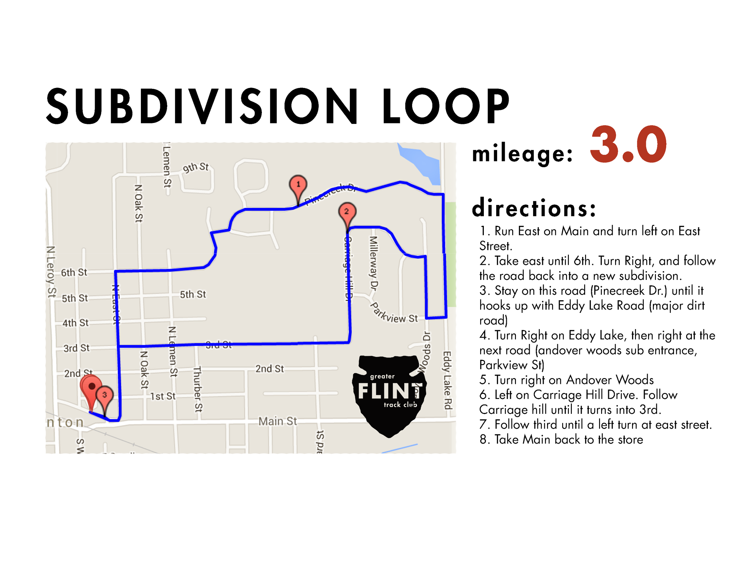 lightning fast, almost all paved, neighborhood loop that follows much of the block party 5k route