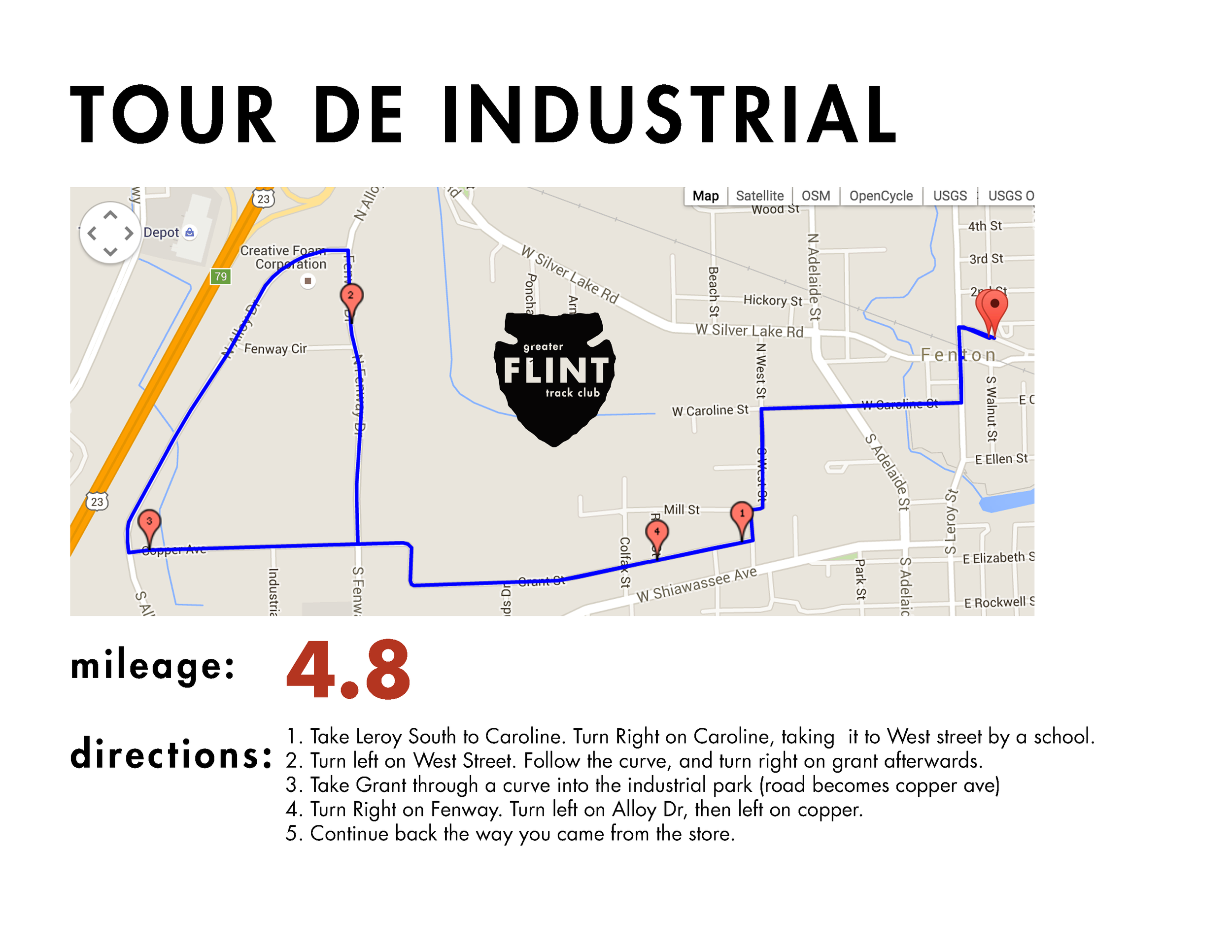 a good option for those that would like to keep things flat, and in town. The industrial section in fenton is a relatively low-traffic area with options to take the run in multiple directions