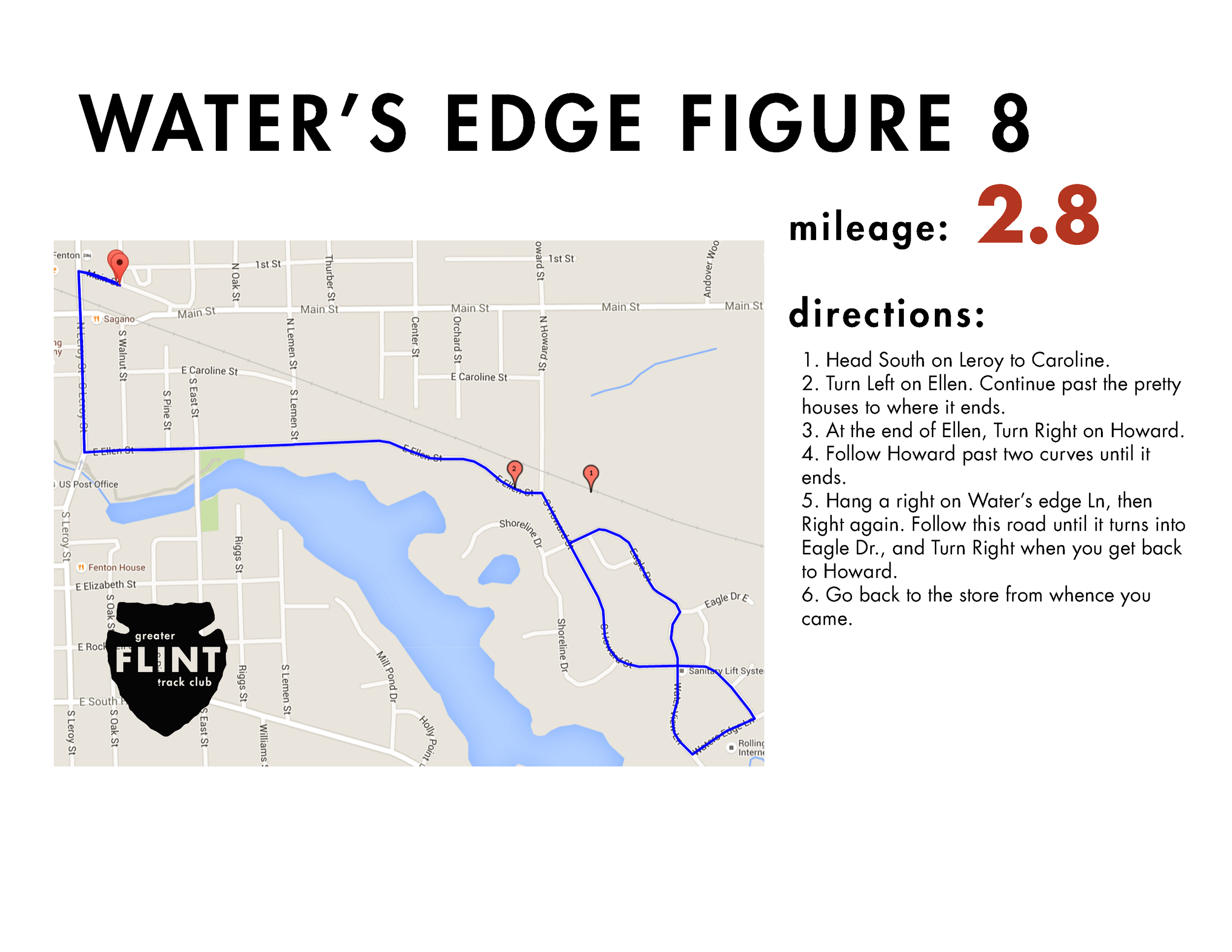 """run alongside the majestic scenery (unless it's may-june, in which case, the pond-scummy scenery) that is the fenton mill pond. the water's edge condo community is a great little paved loop with add-ons available, low-traffic, and filled with friendly fenton folk who may or may not wave and shout """"good job guy/girl"""" as you fly on by"""
