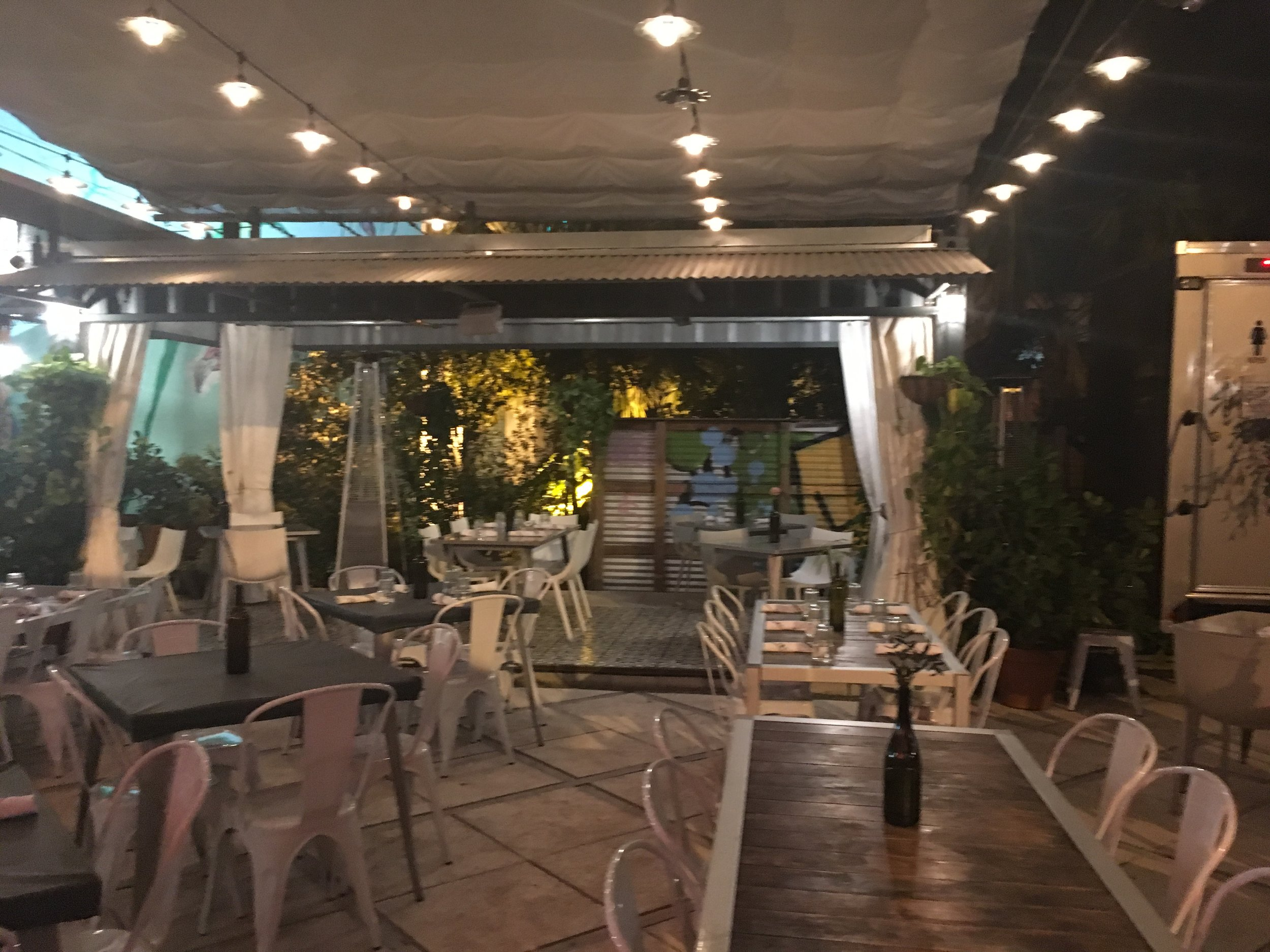 This beautiful open courtyard is a perfect space to dine in the warm Miami evenings.
