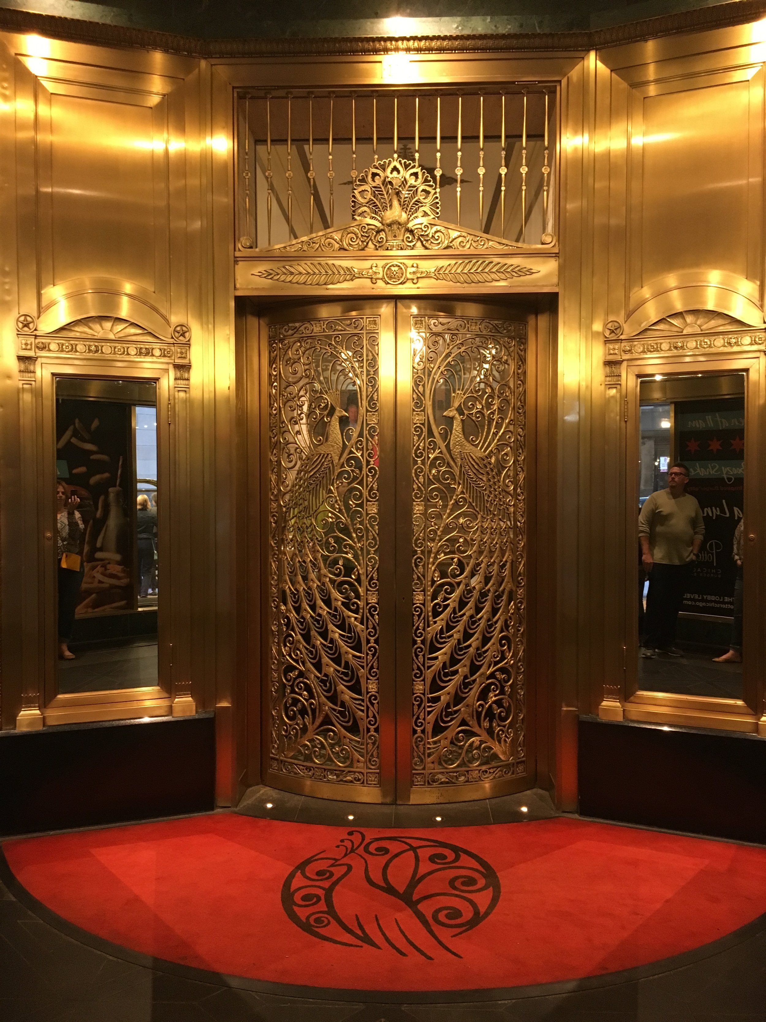 These hand-forged bronze doors were designed by Louis Comfort Tiffany for the C.D. Peacock jewelry store, and greeted us at the Palmer House