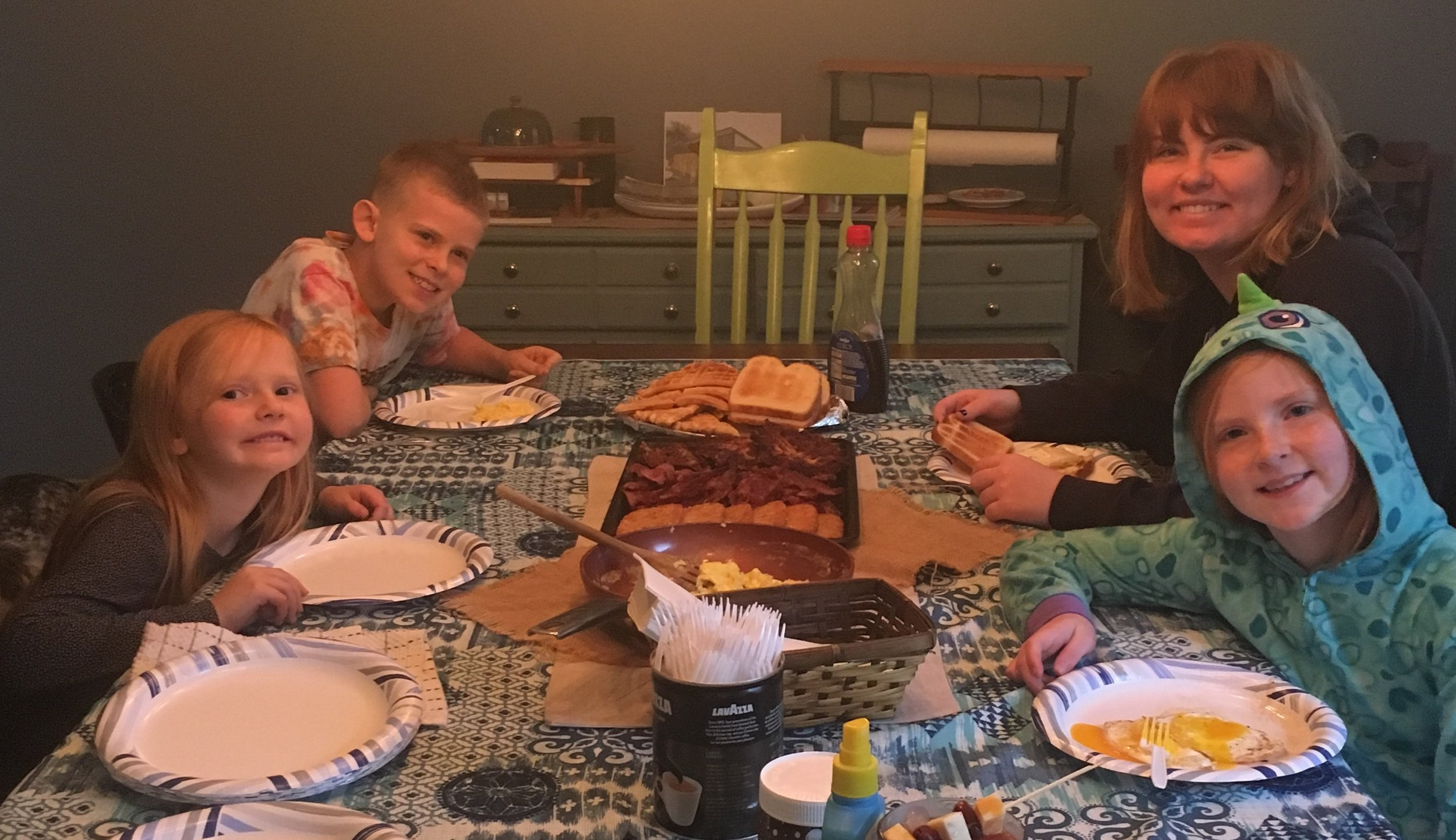 We love when we get to have Skylar back home for Saturday breakfast.