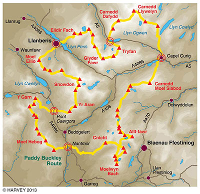 The Paddy Buckley Route- 47 summits, 64 miles, 28,000 ft.