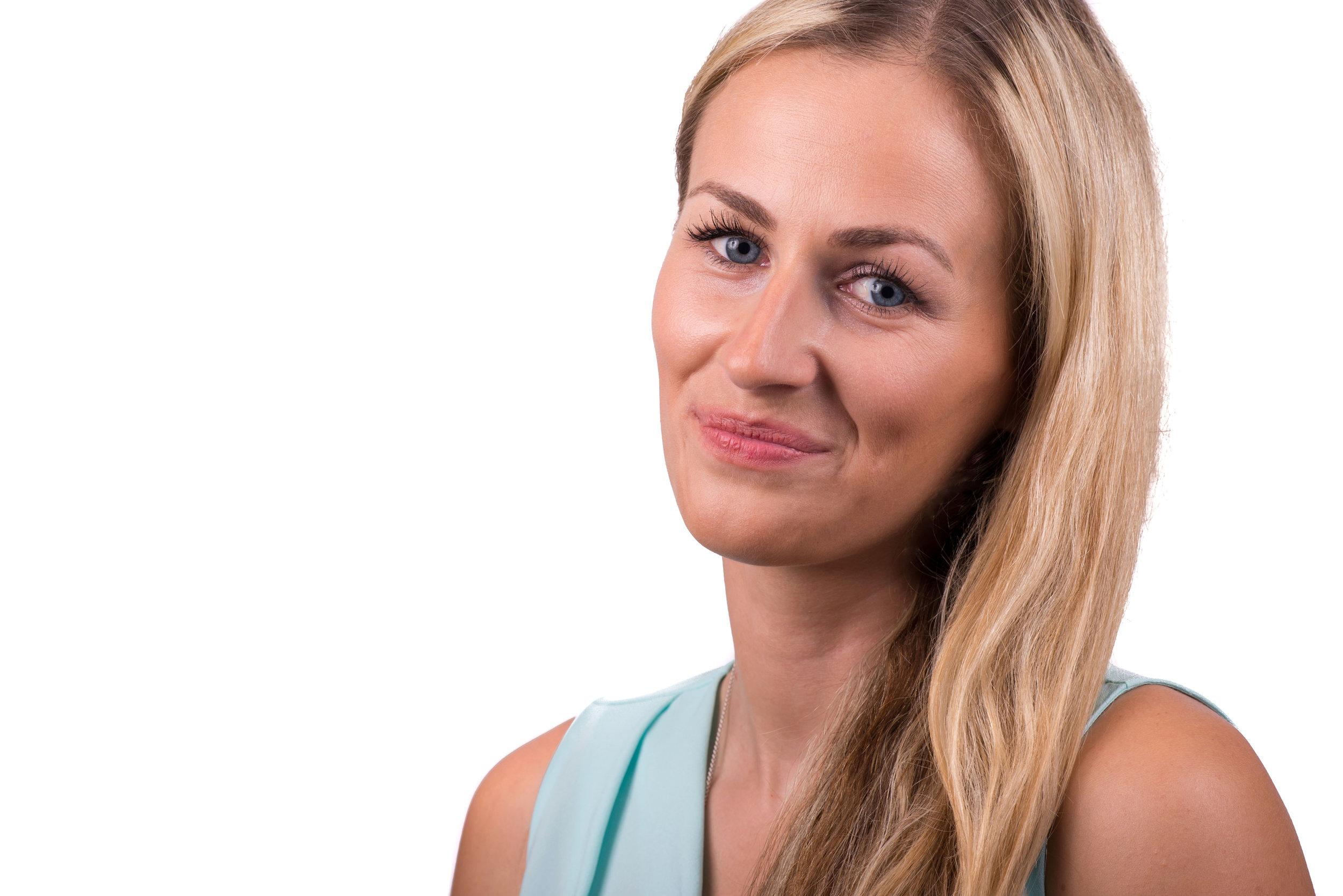 Blonde Businesswoman Headshot Photo Wearing mint top