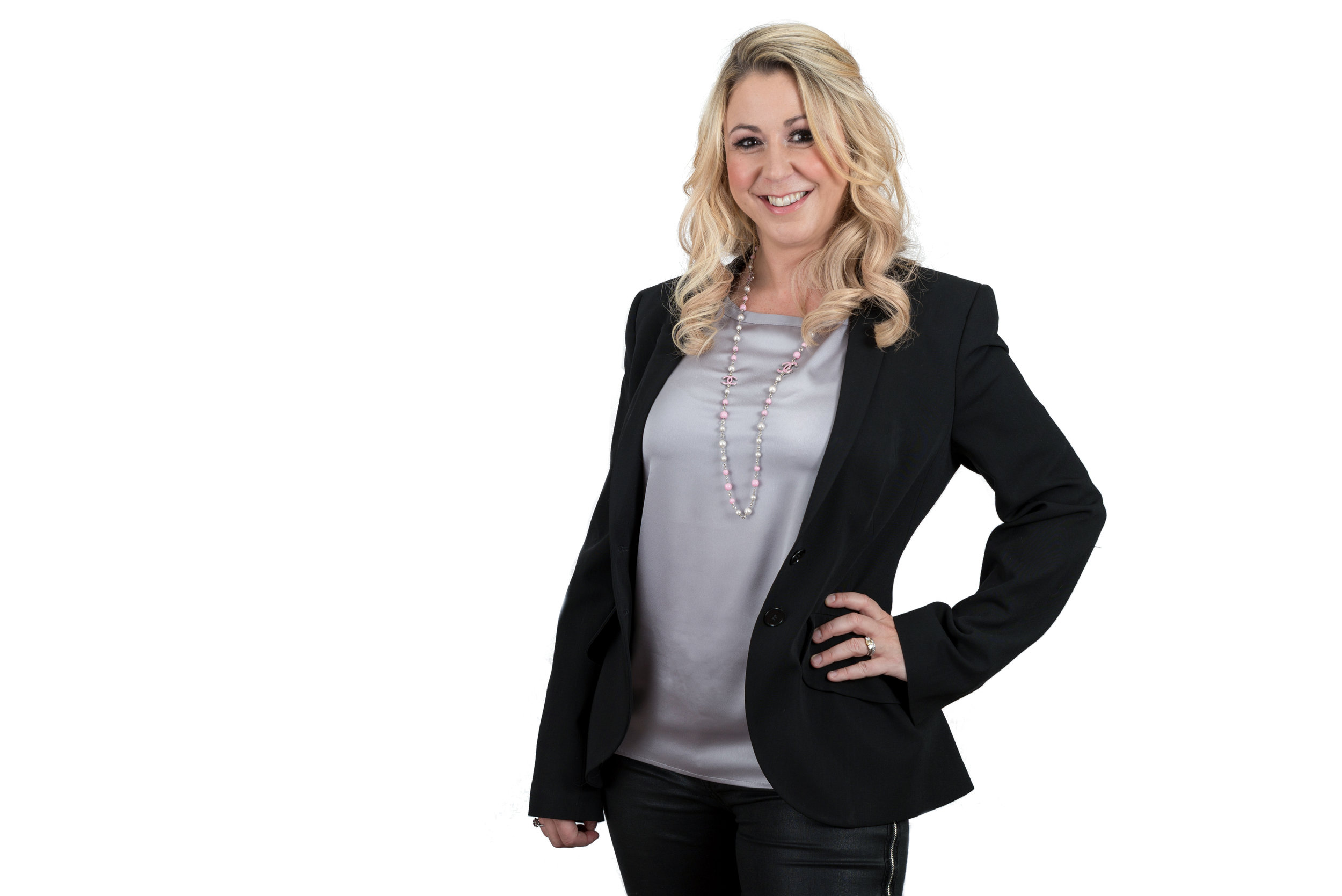 Businesswoman Portrait Photo Wearing black Jacket and necklace
