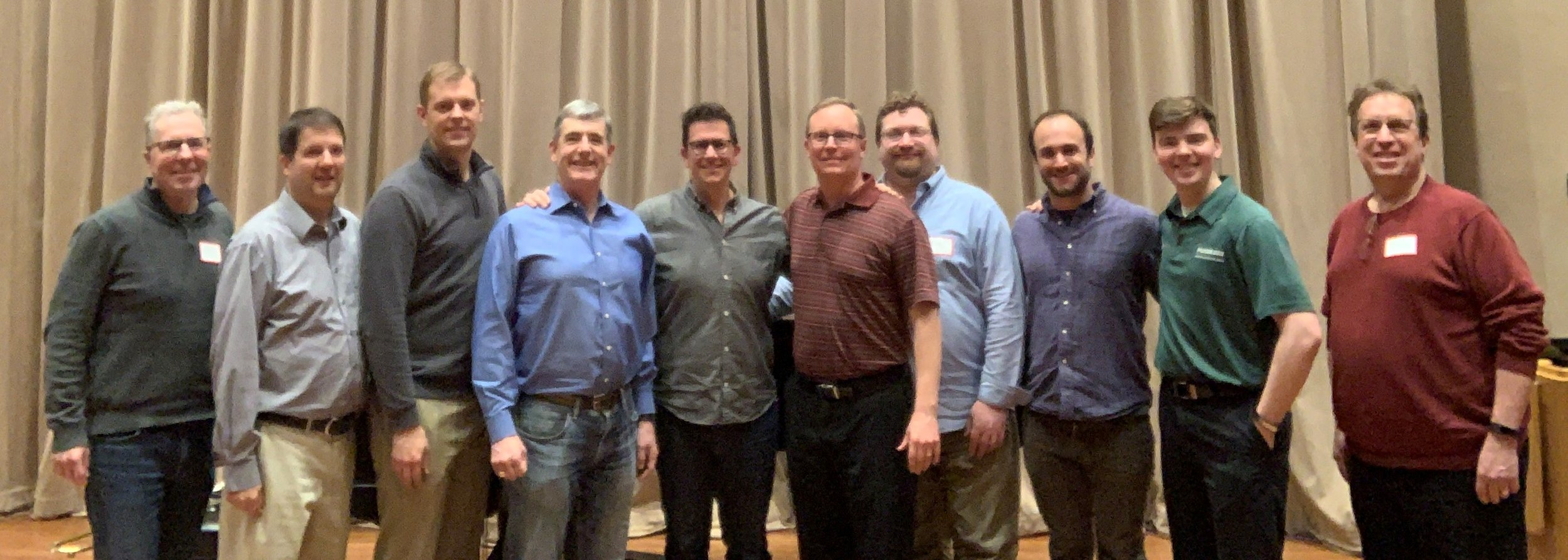 Tim Higgins and the Northshore Concert Band trombones (left to right): Greg Glover, Brad Say, Bryan Tipps, Joe Schorer, Tim Higgins, Andy Burkemper, Dan DiCesare, DJ Taylor, Mitchell Clark and Paul Bauer. Not pictured: Joe Moore