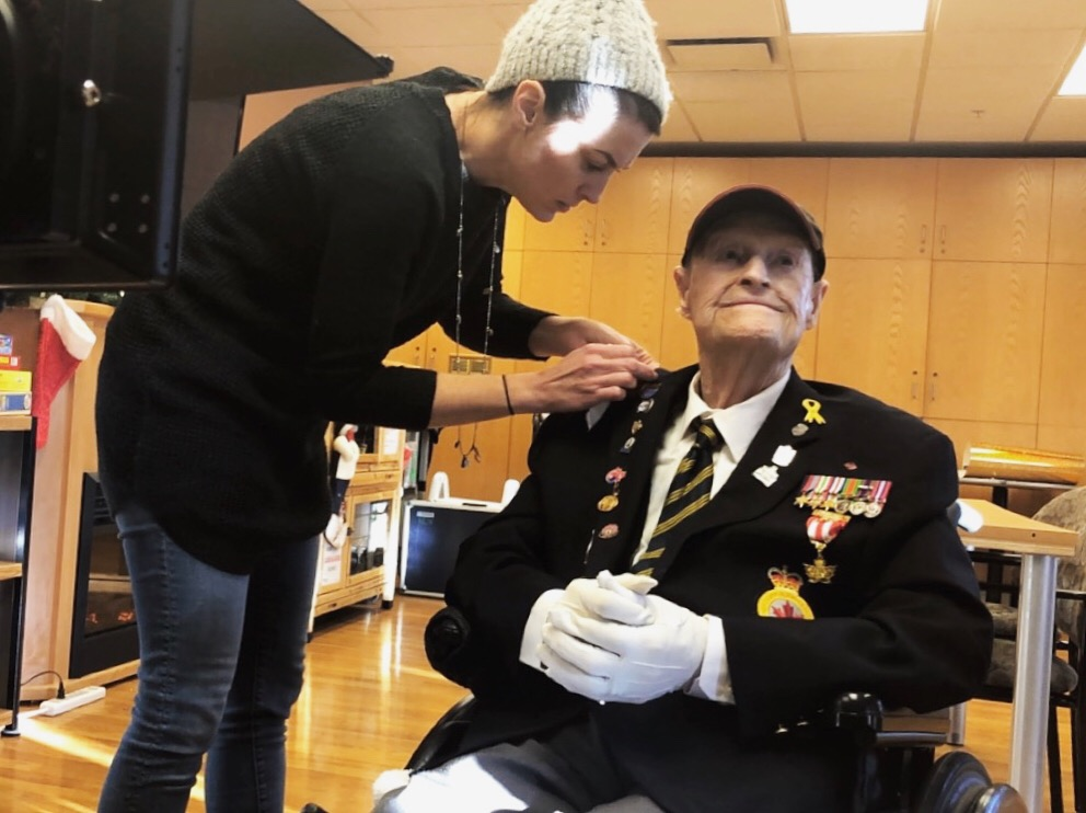 BTS at Kipnes Centre for Veterans with Jack Owen, a war veteran of 102 years of age.