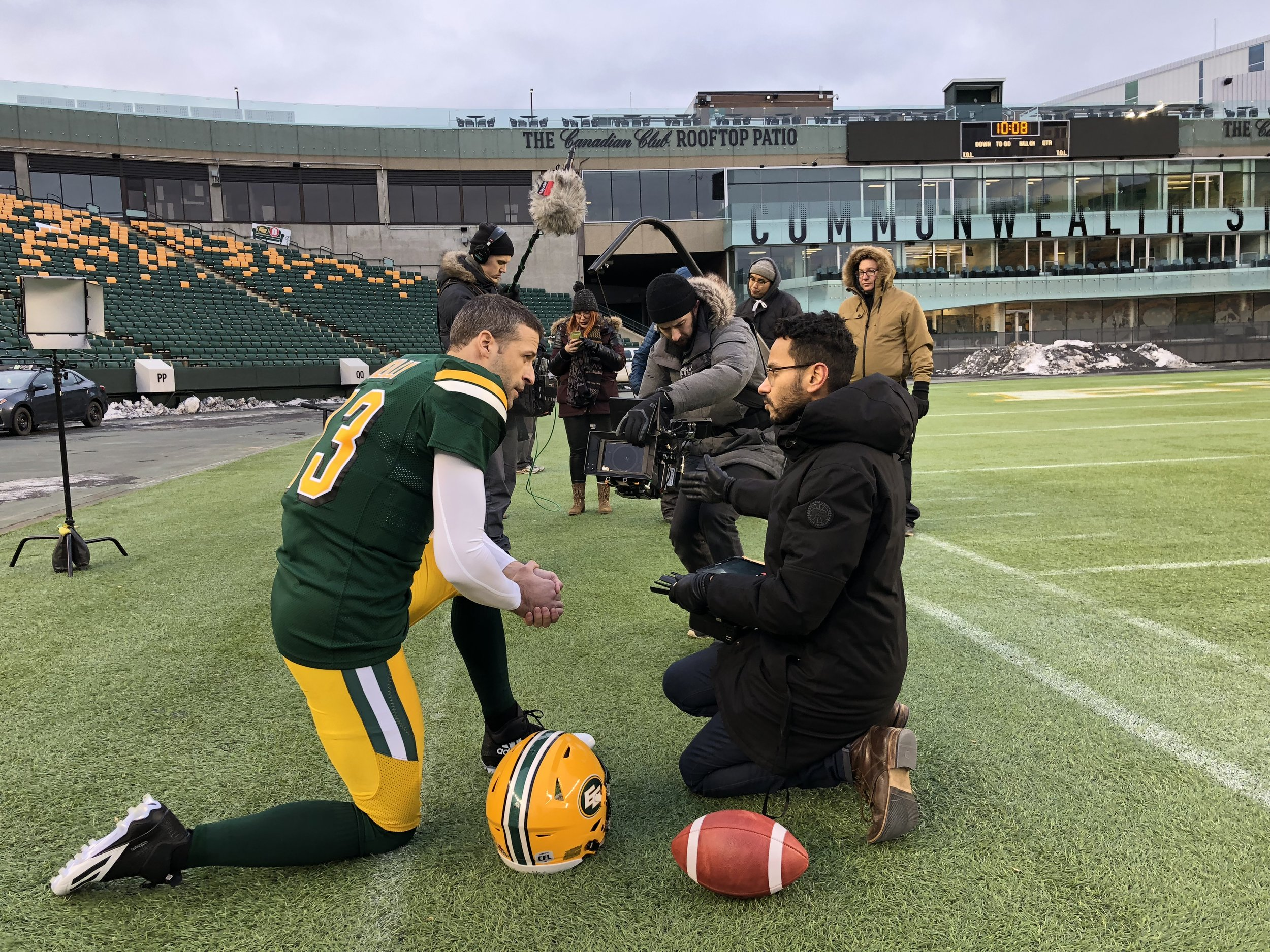 BTS at the Commonwealth with Mike Reilly, Edmonton Eskimos player and CFL's 2015 MVP .