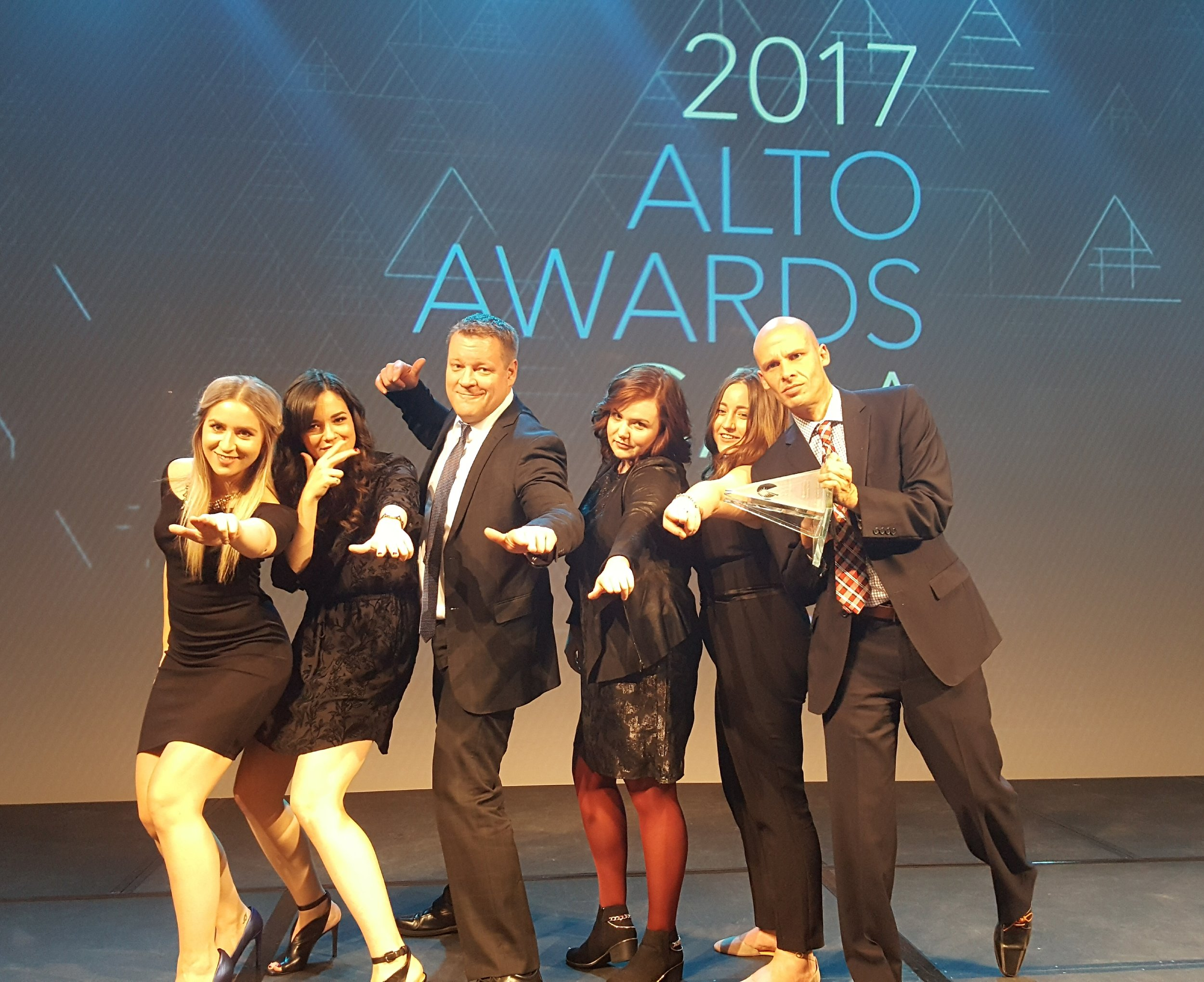 The Edmonton Tourism team receiving the Alto Award as Winner in the $10-$50K Marketing Excellence category.