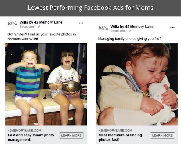 These ads did not do well. Too generic? Too weird? Who knows.