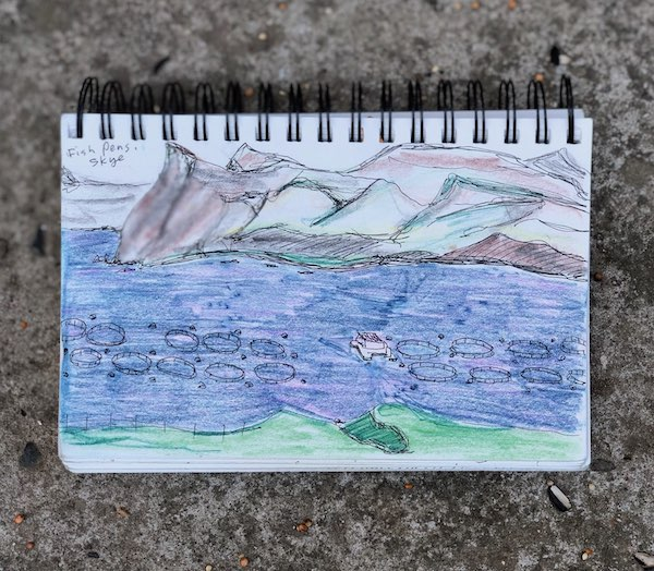 Fish pens off the coast of the Isle of Skye; drawing by Britt Stromberg