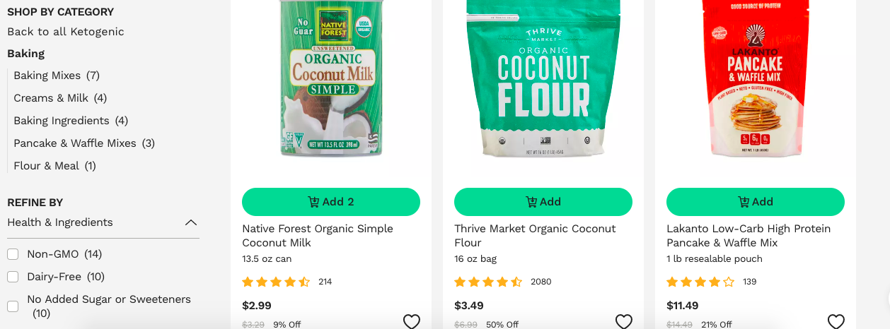 ketogenic baking supplies thrive market
