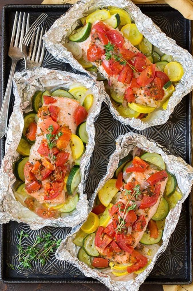 Keto Salmon & Summer Veggies