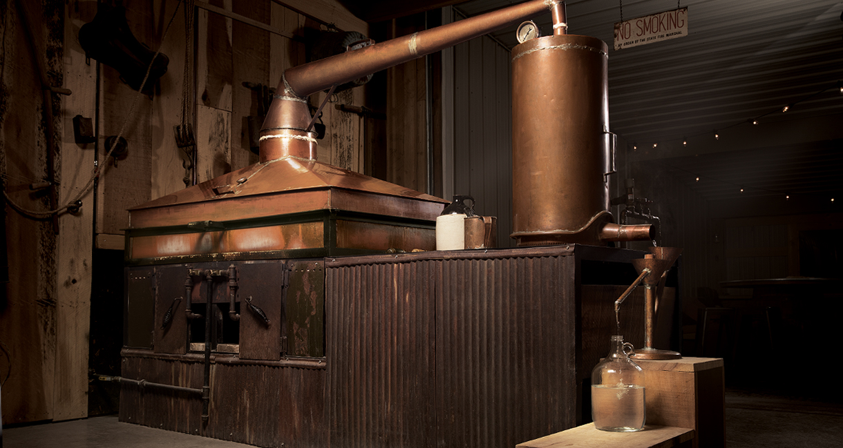 Our square copper pot still is the heart of our distillery.