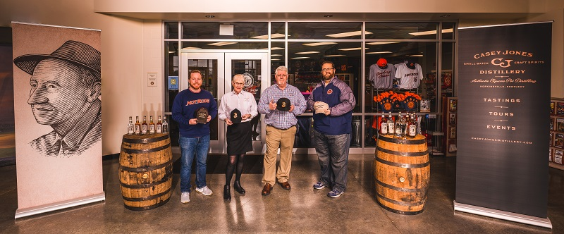 Casey Jones Distillery owners and Hot Rods management in order of appearance: Kyle Wolz, Peg Hays, AJ, and Eric Leach.