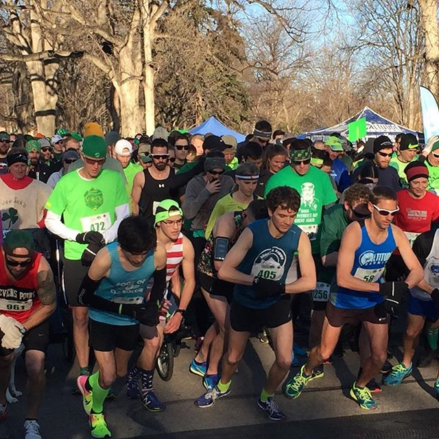 Race season unofficially begins today at St. Patty's 5K. Race director graciously invited people in adaptive equipment to line up behind elite runners. Super fun morning at City Park.