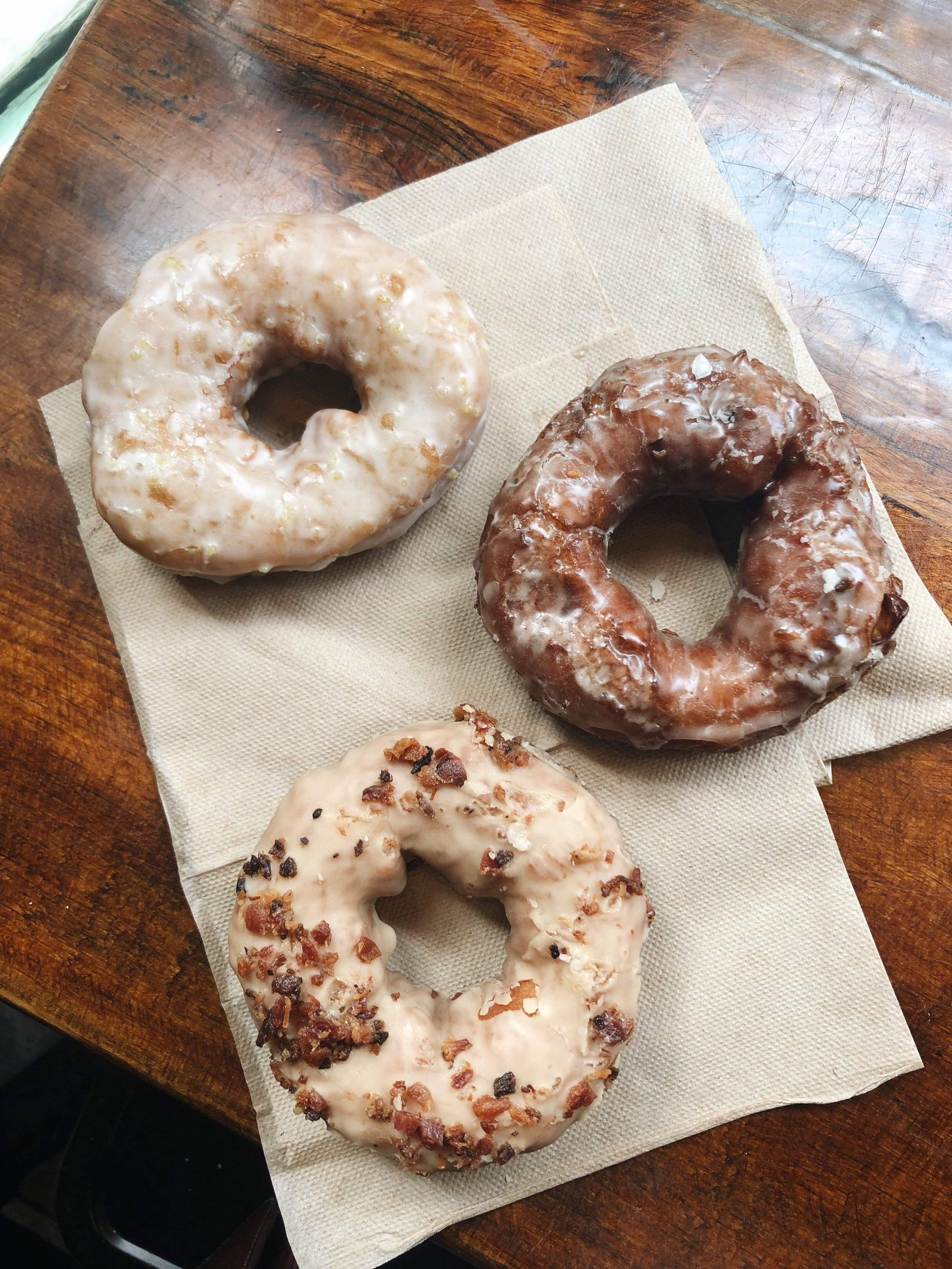 Holy Donut flavors (clockwise from top left): Fresh Lemon, Maine Apple (my favorite), Maple Bacon