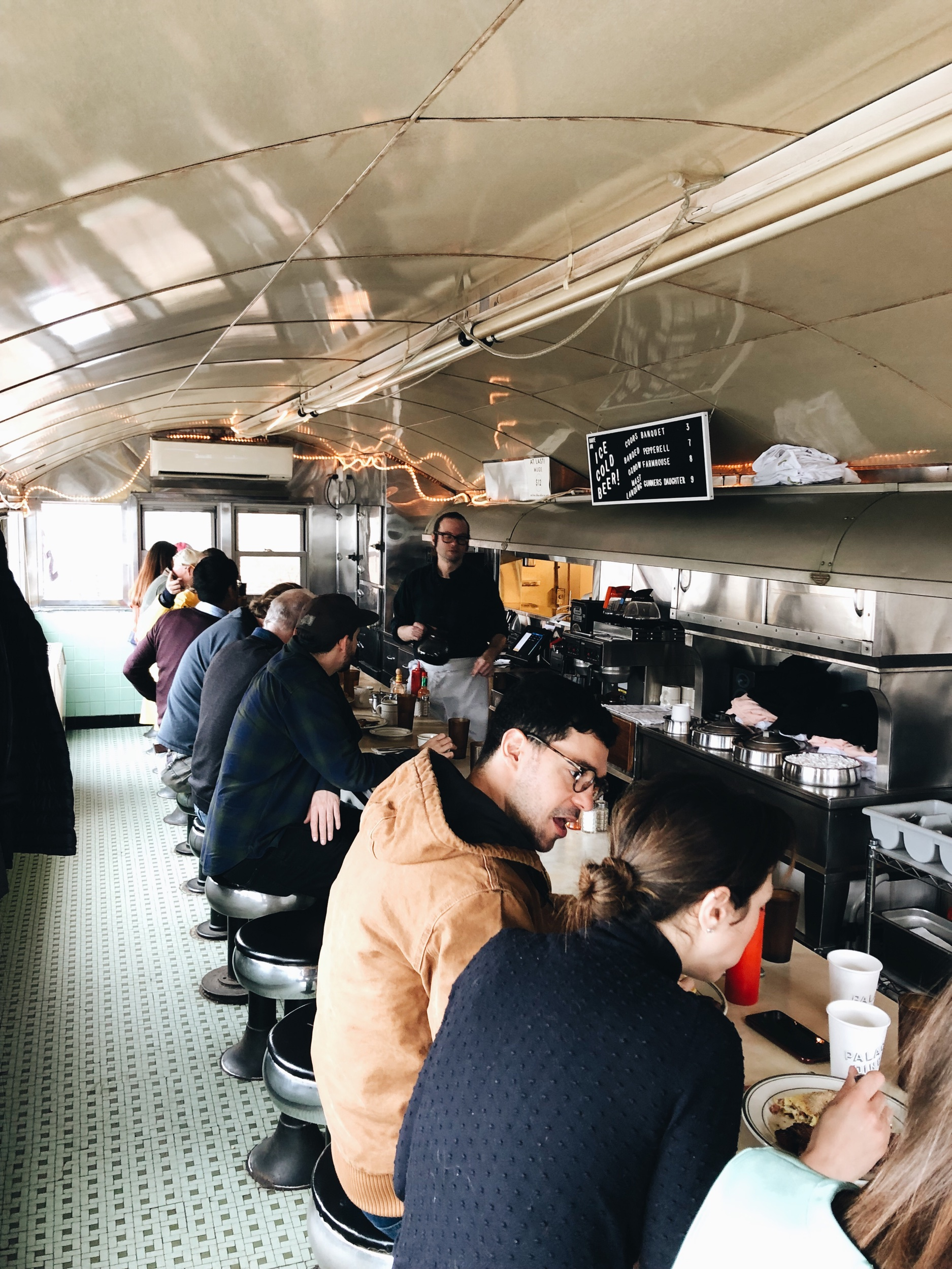 Inside the train-car restaurant, Palace Diner