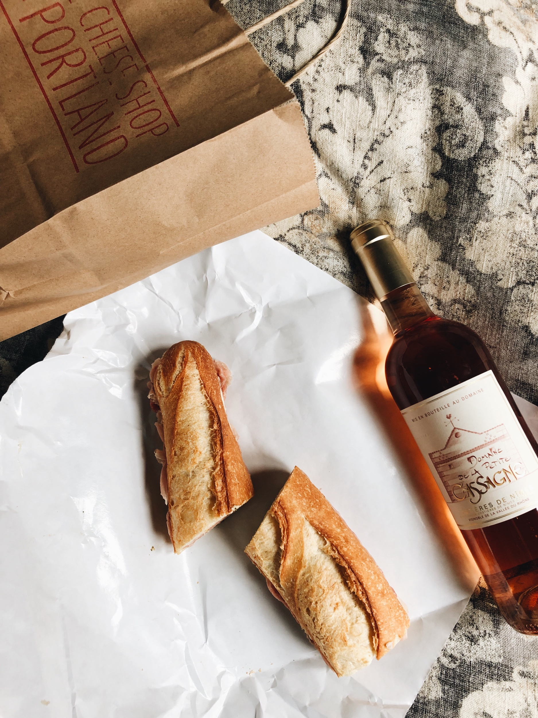 The best sandwich I've had in a long time: ham and butter sandwich, and a bottle of rosé from the The Cheese Shop of Portland