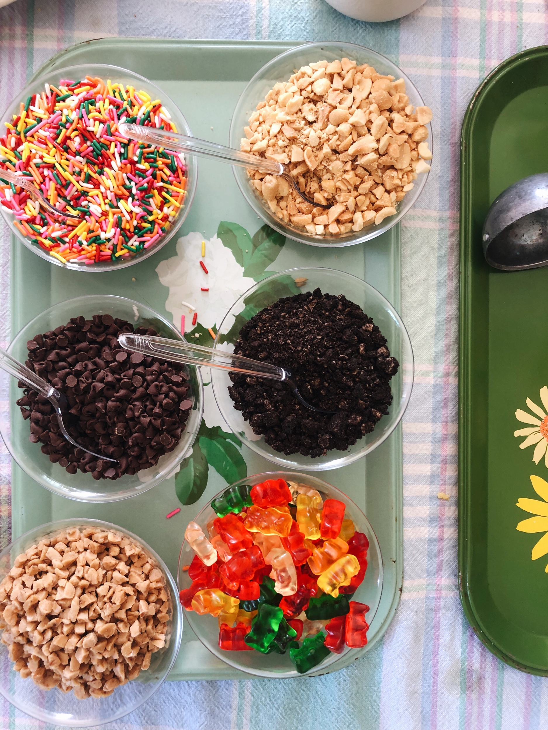 The ice cream toppings selection: rainbow sprinkles, chopped peanuts, mini chocolate chips, crushed Oreos, toffee bits and gummi bears.