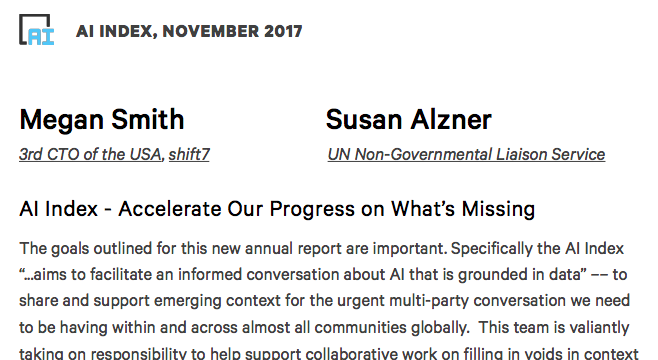 Susan Alzner and Megan Smith published in the 2017  AI Index