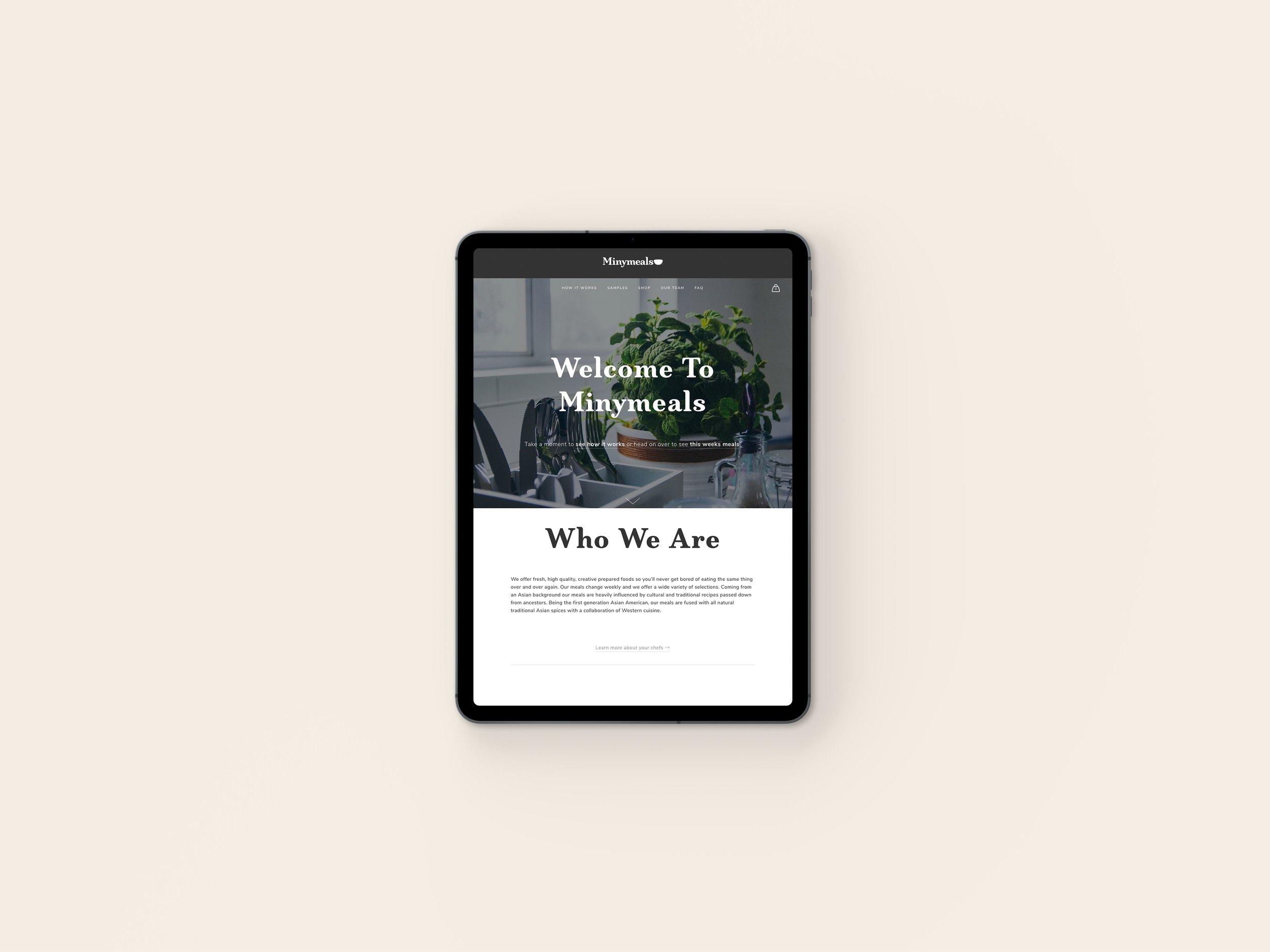 Minymeals Website on iPad
