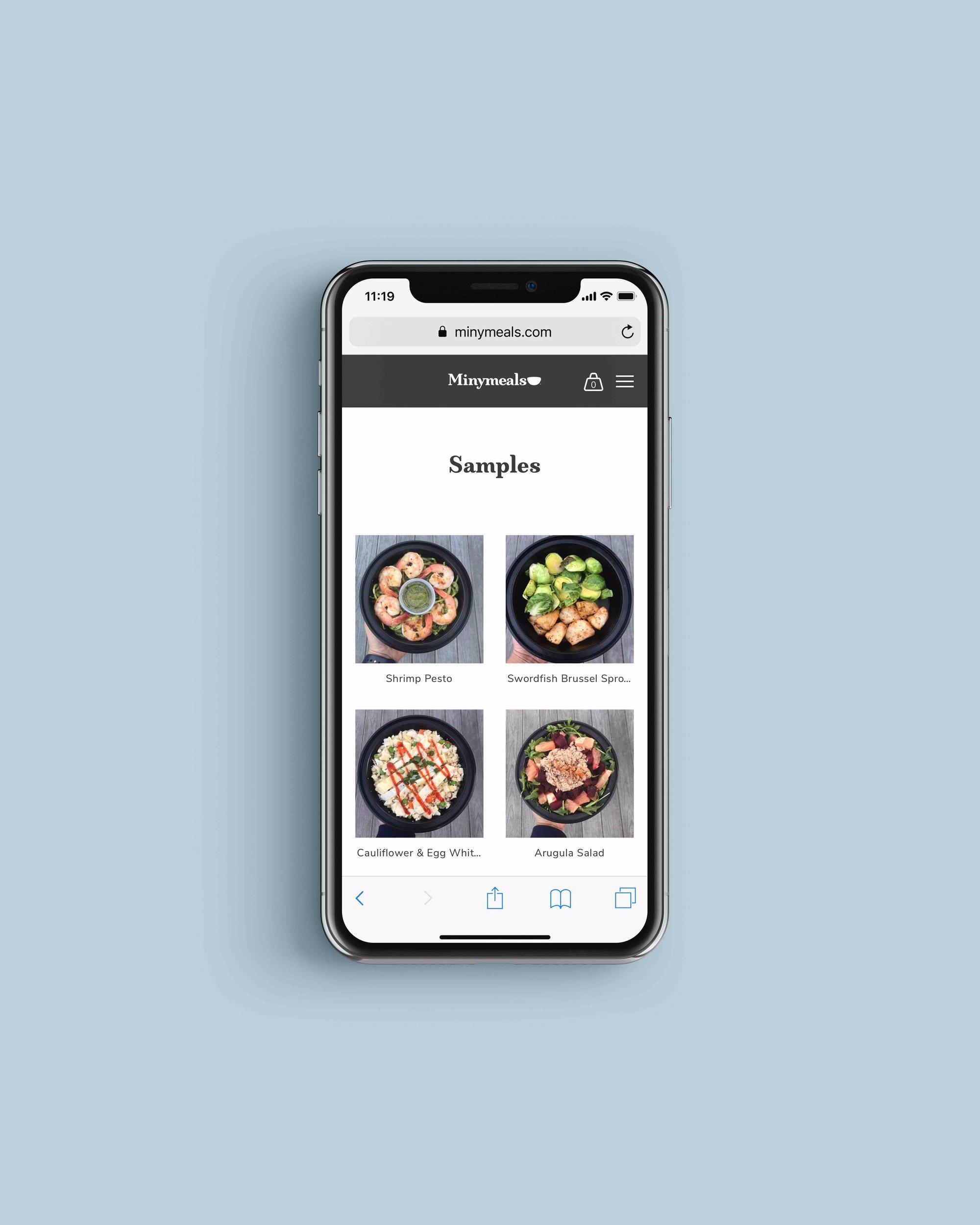 Minymeals website on iPhone X