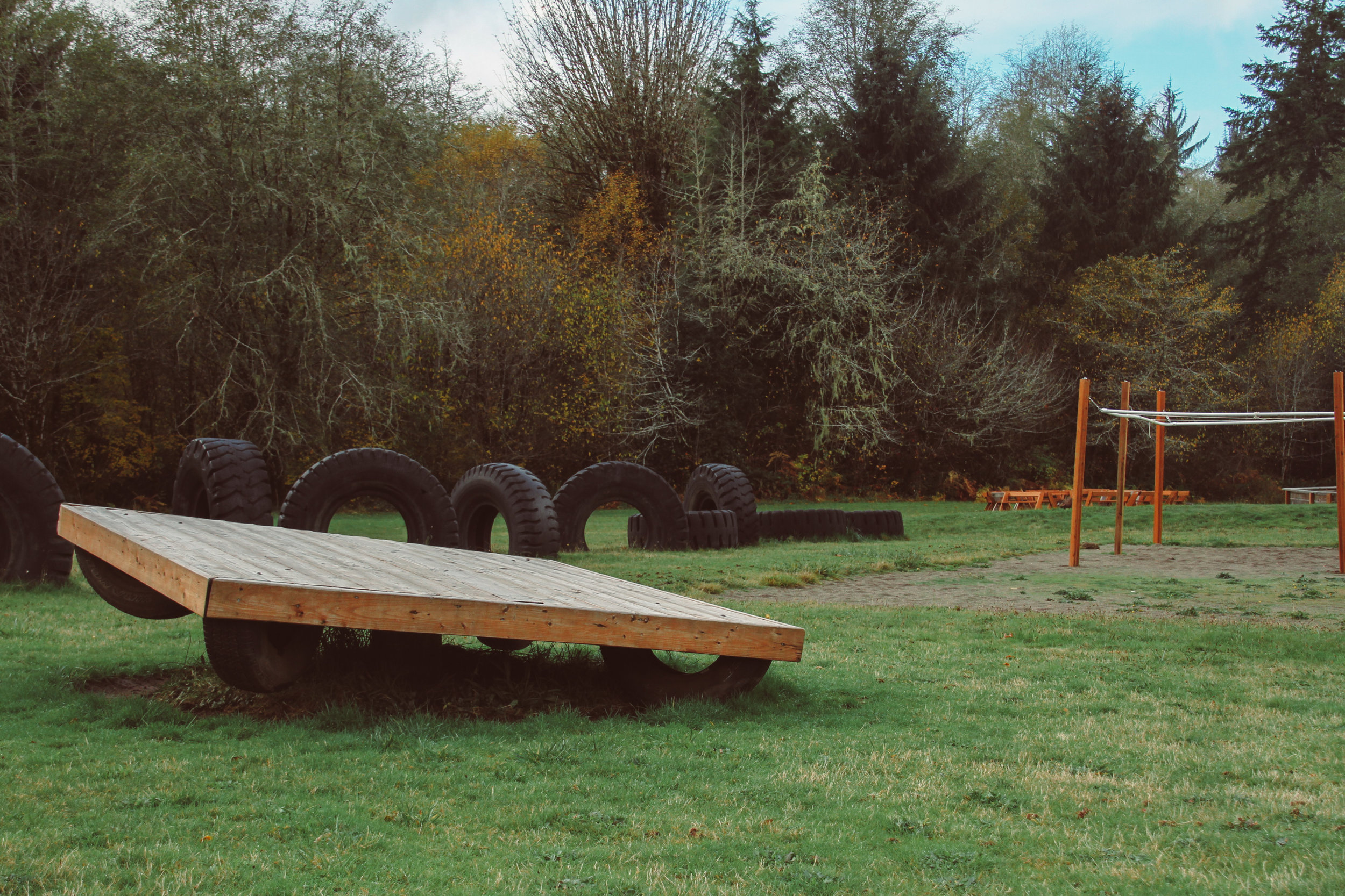 Our Play Area with an omni-totter, 9 square-in-the-air, a swing set, gaga ball and tires to play on