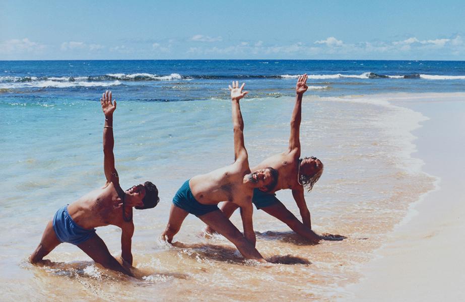 Utthita Trikonasana Trio - Jawahar, Ramanand and BKS Iyengar - Kawailoa Beach, North Shore Oahu