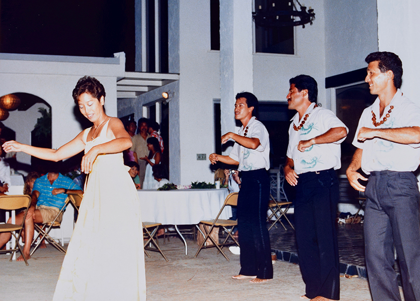 SDC teacher Cynthia Lee and friends doing hula