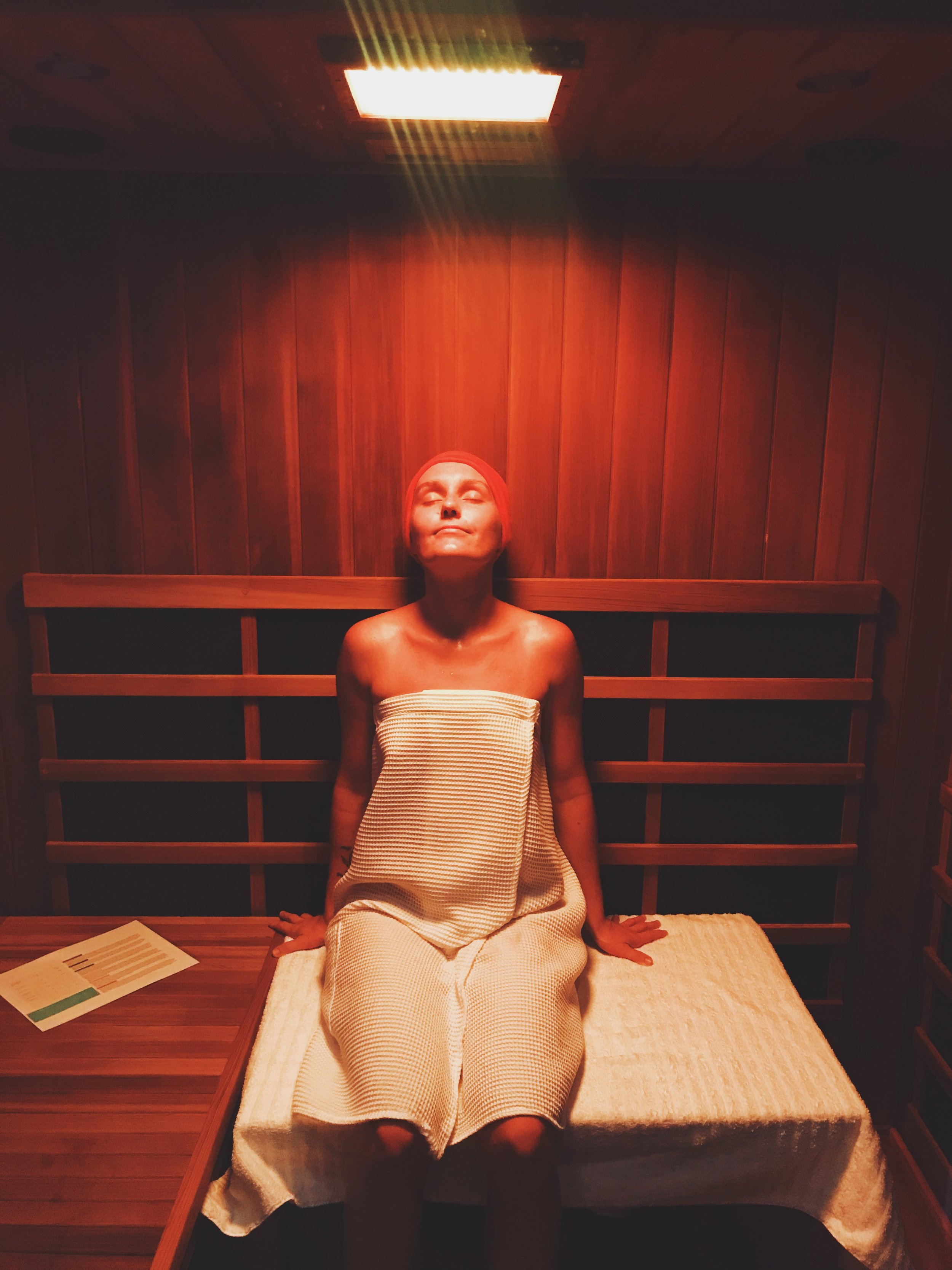 Stress & Fatigue - A few minutes in the gentle warmth of an infrared sauna will help you feel relaxed, rejuvenated, and renewed. Also, it affects the autonomic nervous system putting you in the parasympathetic (rest and digest) state allowing your body to heal.