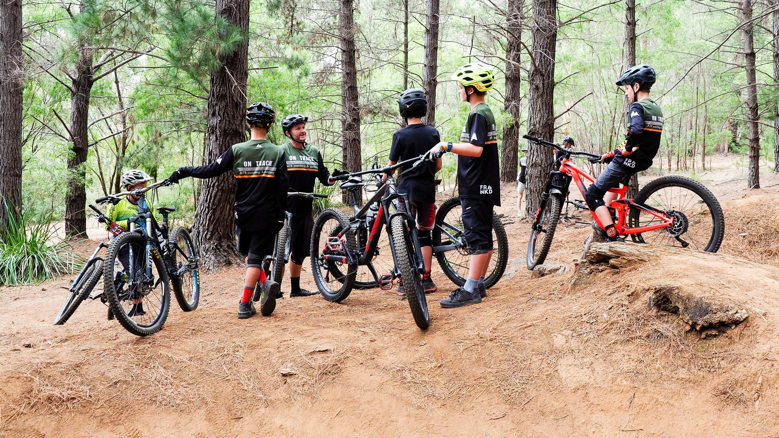 Steve Lane giving some of the Groms some tips and pointers out on the trail.