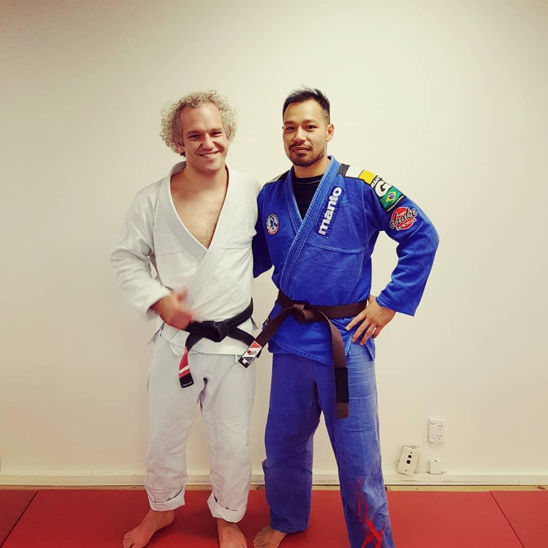 Patrick Te Tau (GSW's 1st degree black belt) & Phan Wilkie (Masterton BJJ's brown belt)