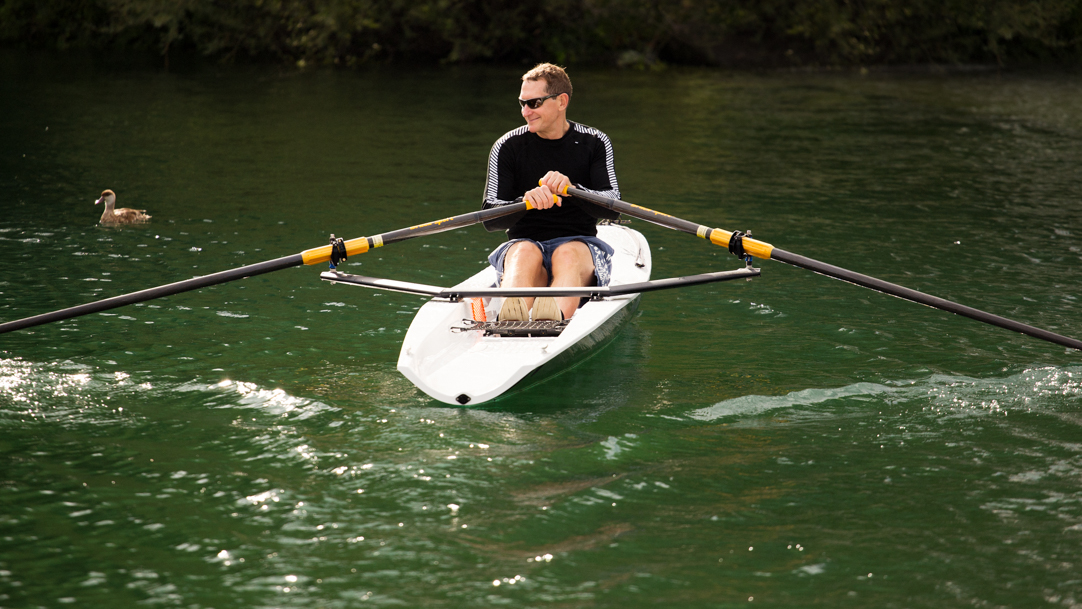 Cameron bought a rowing boat two years ago - to prepare for the crossing - which he keeps on Lake Zurich.