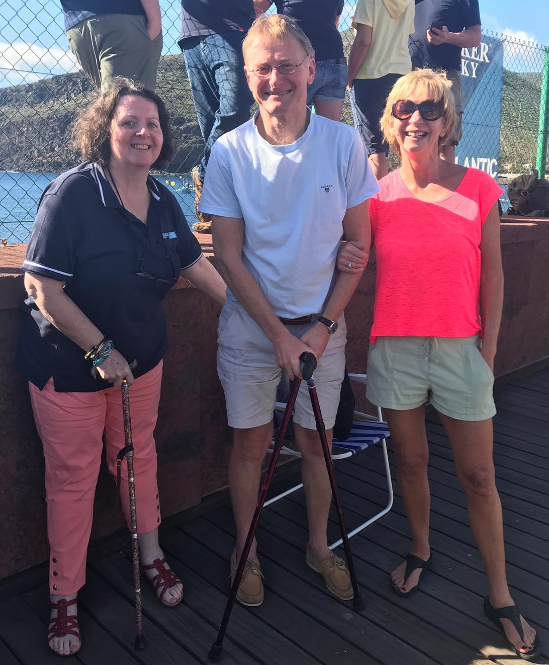 Rose, Tony and Sue Unwin meet for the first time in La Gomera, despite attending the Berkshire MS Therapy Centre together for years. They made a special effort to come and wave off Atlantic Discovery. Photo credit Tammy Demmers.