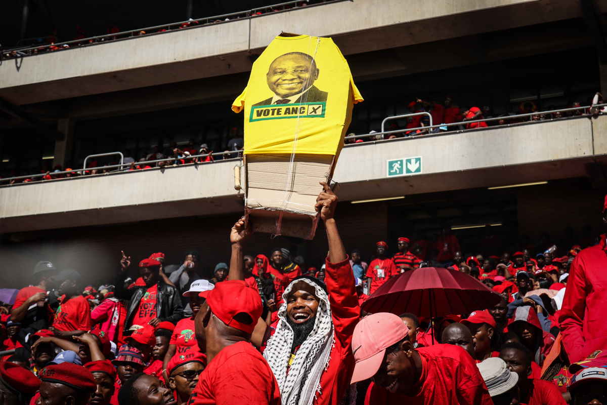 EFF supporters at a pre-election rally in Soweto, Johannesburg