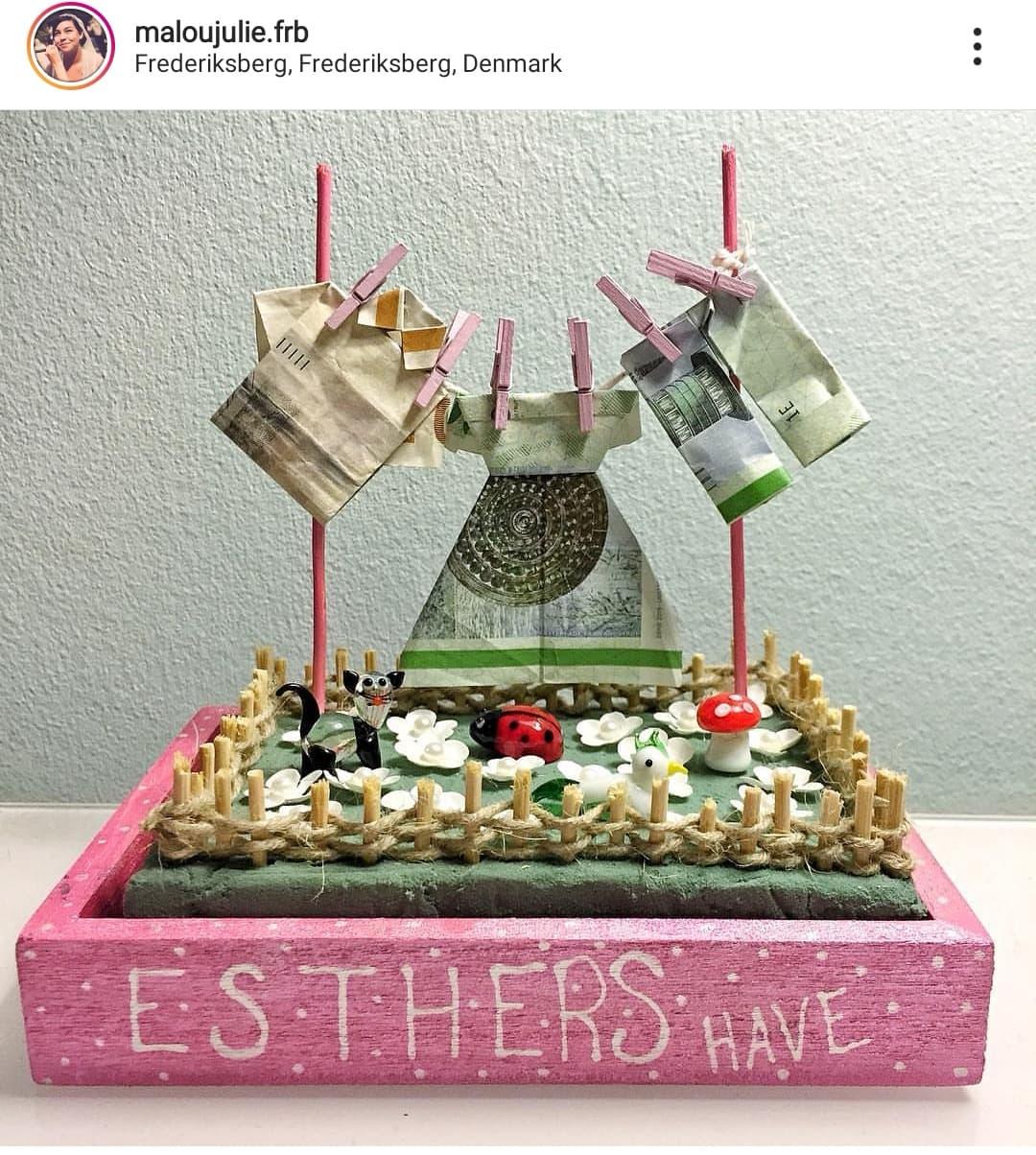 Instagram: maloujulie.frb har lavet denne fine have til Esther, med tøj på tørresnoren. Perfekt til havemennesket eller en sød konfirmand.