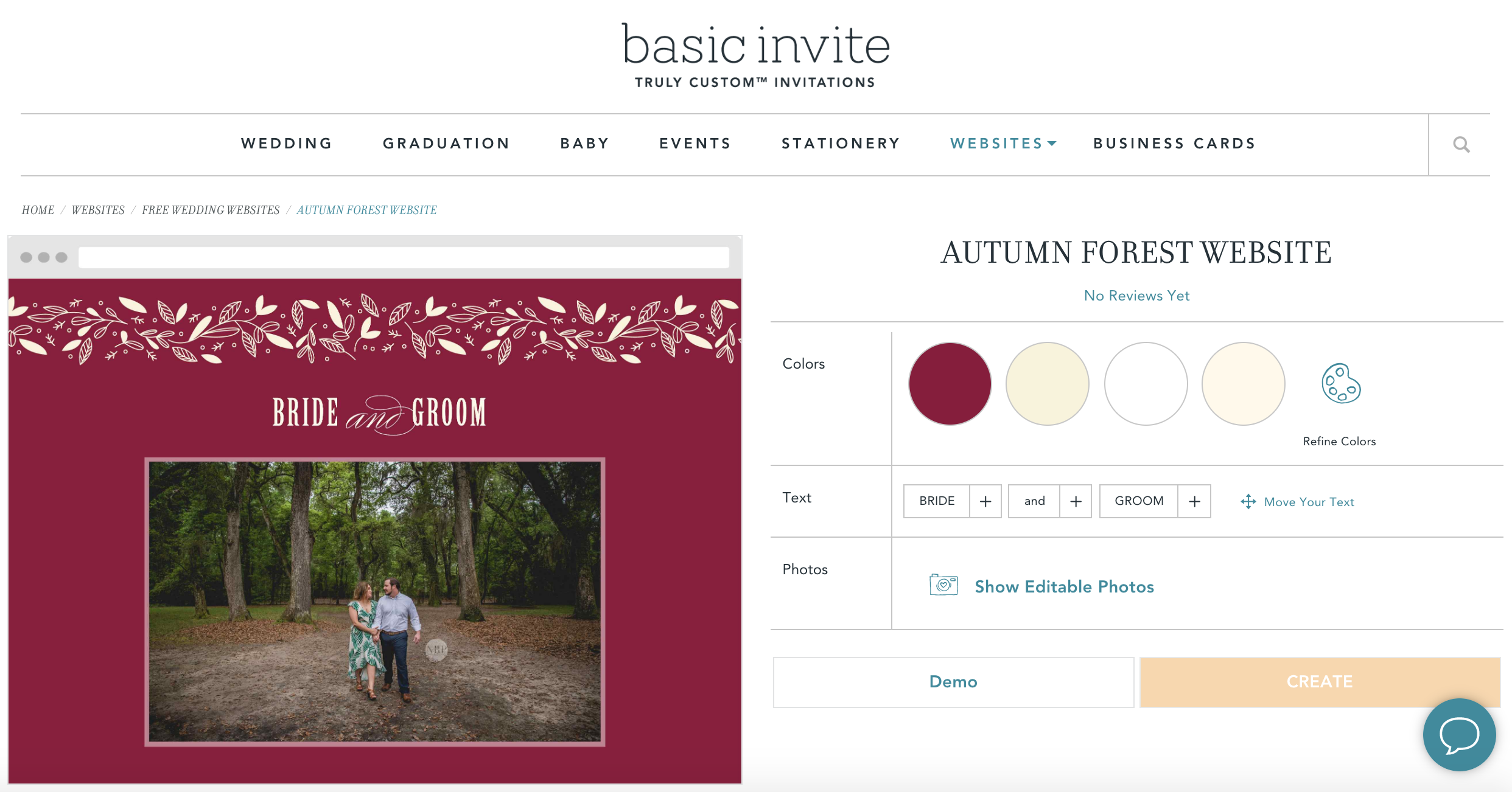 Basic Invite Free Wedding Website